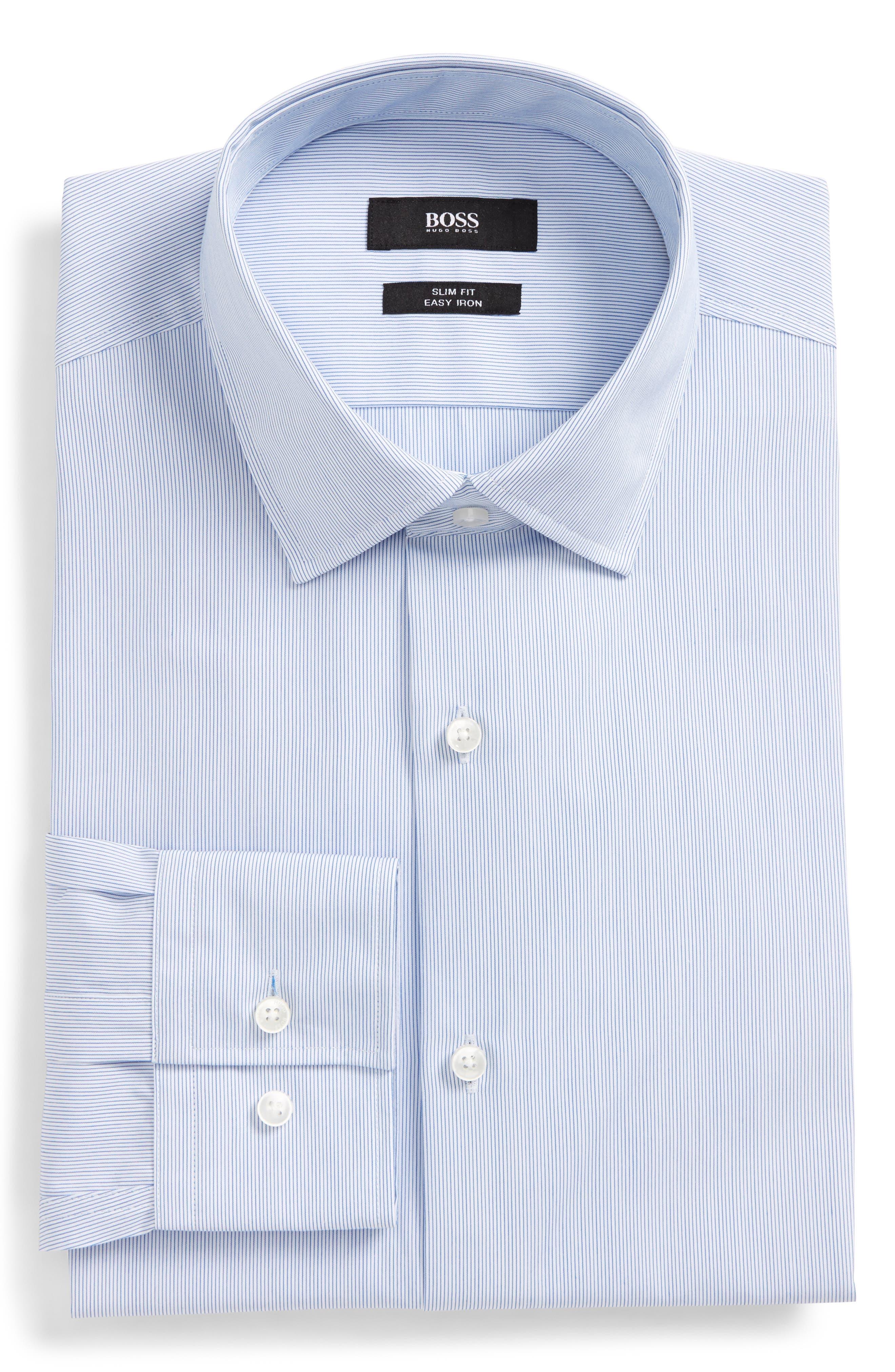 Jenno Slim Fit Easy Iron Stripe Dress Shirt,                         Main,                         color, 420