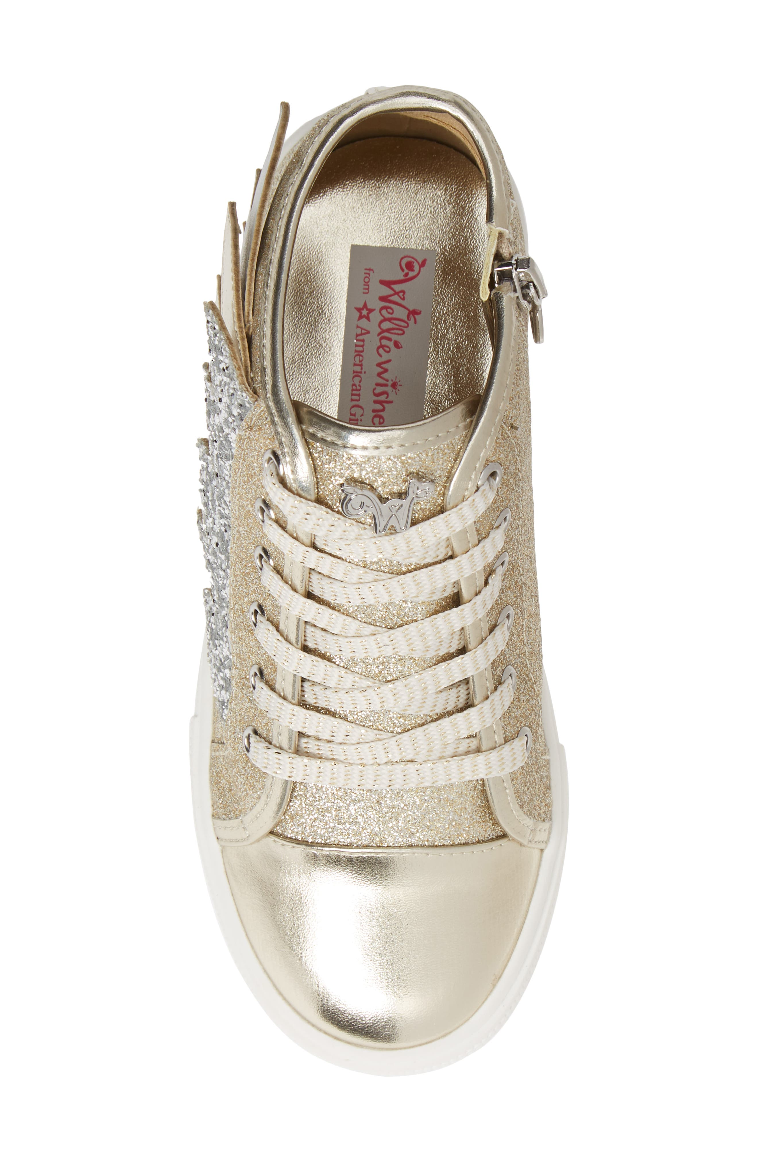 Willa Winged Glitter High Top Sneaker,                             Alternate thumbnail 5, color,                             SOFT GOLD SILVER