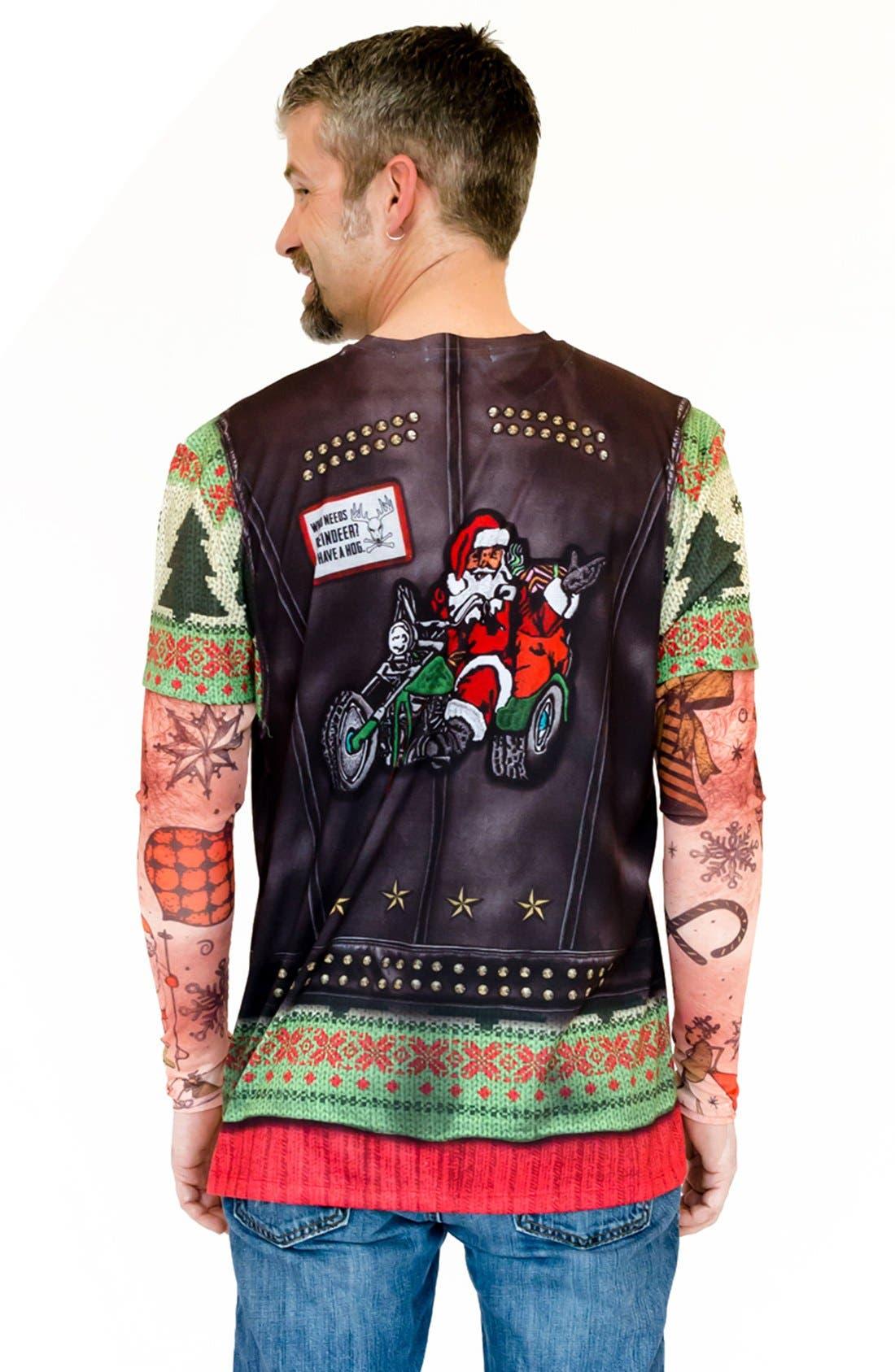 'Ugly Christmas Sweater - Biker Tattoo' Long Sleeve Novelty T-Shirt,                             Alternate thumbnail 3, color,                             300