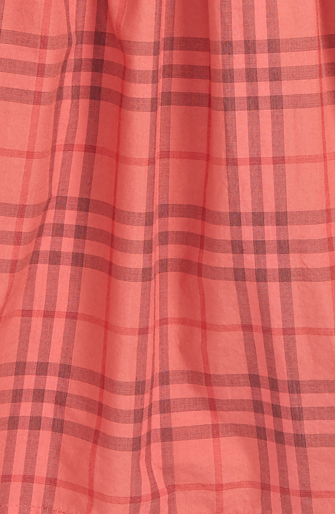 Mini Loralie Ruffle Detail Check Cotton Dress,                             Alternate thumbnail 3, color,                             CORAL RED