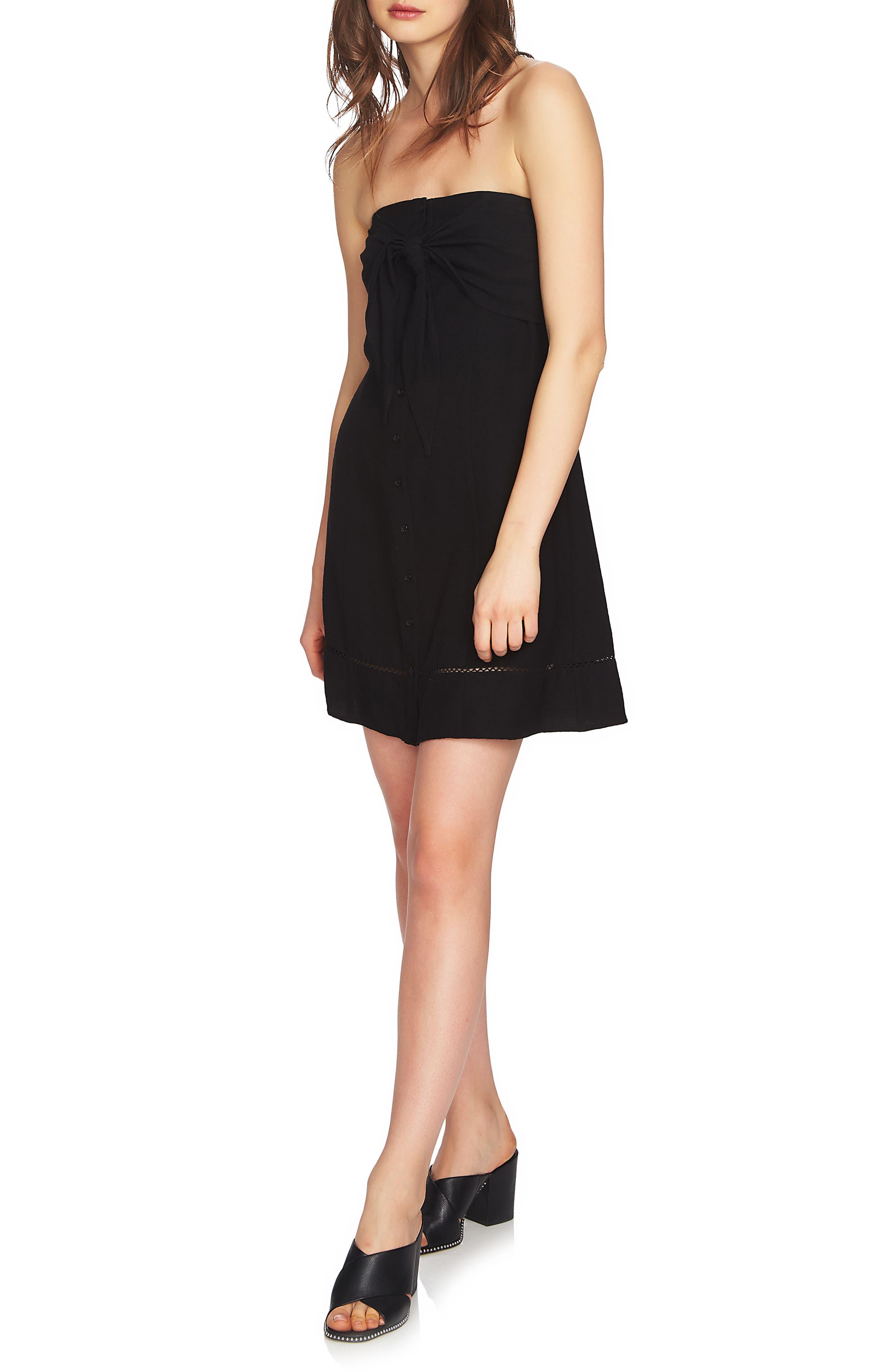 Strapless Tie Front Dress,                             Alternate thumbnail 3, color,                             RICH BLACK