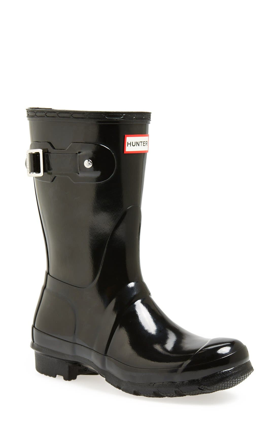 Original Short Gloss Waterproof Rain Boot,                         Main,                         color, 001
