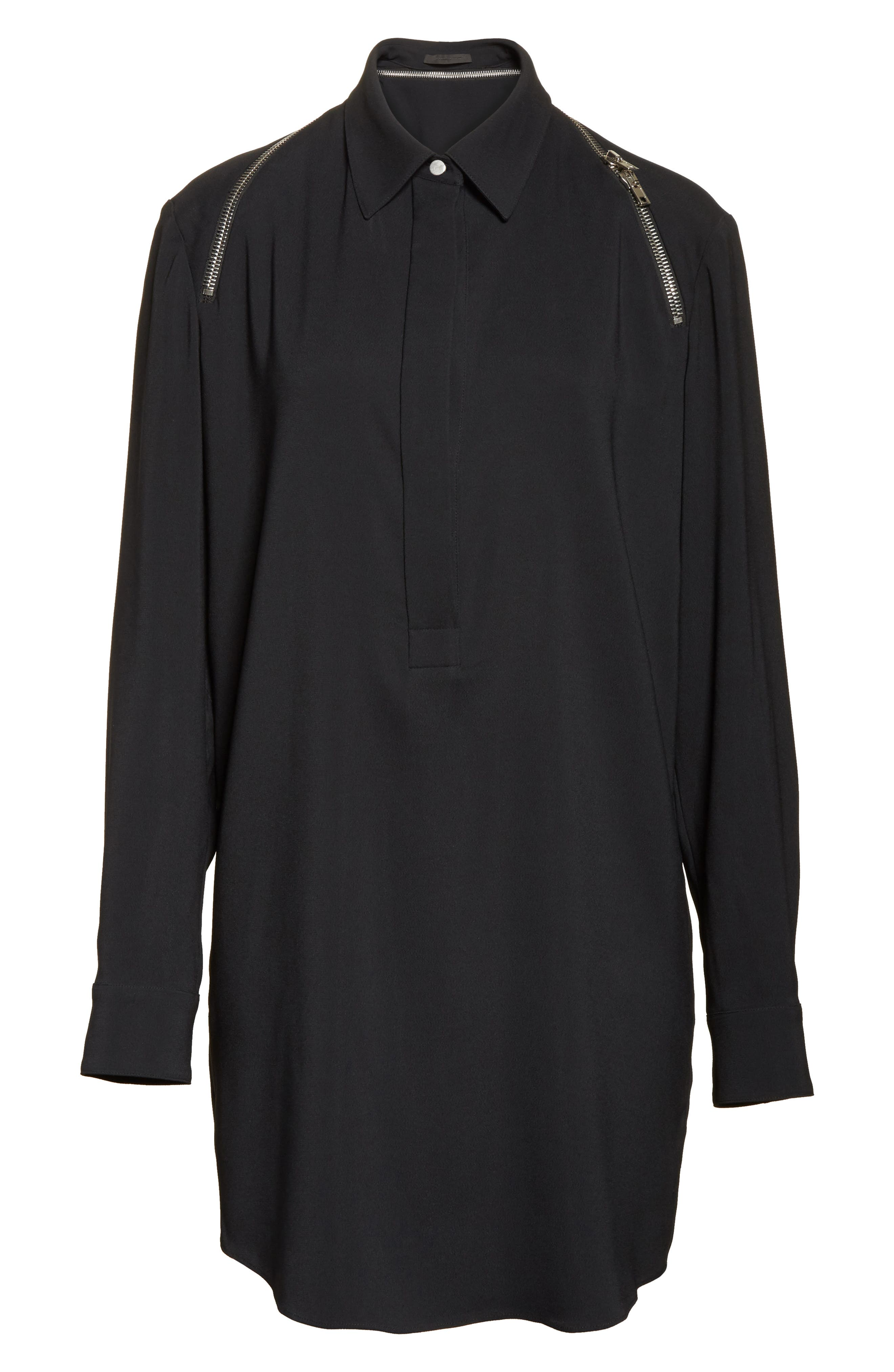 Zipper Shoulder Detail Dress,                             Alternate thumbnail 6, color,                             001