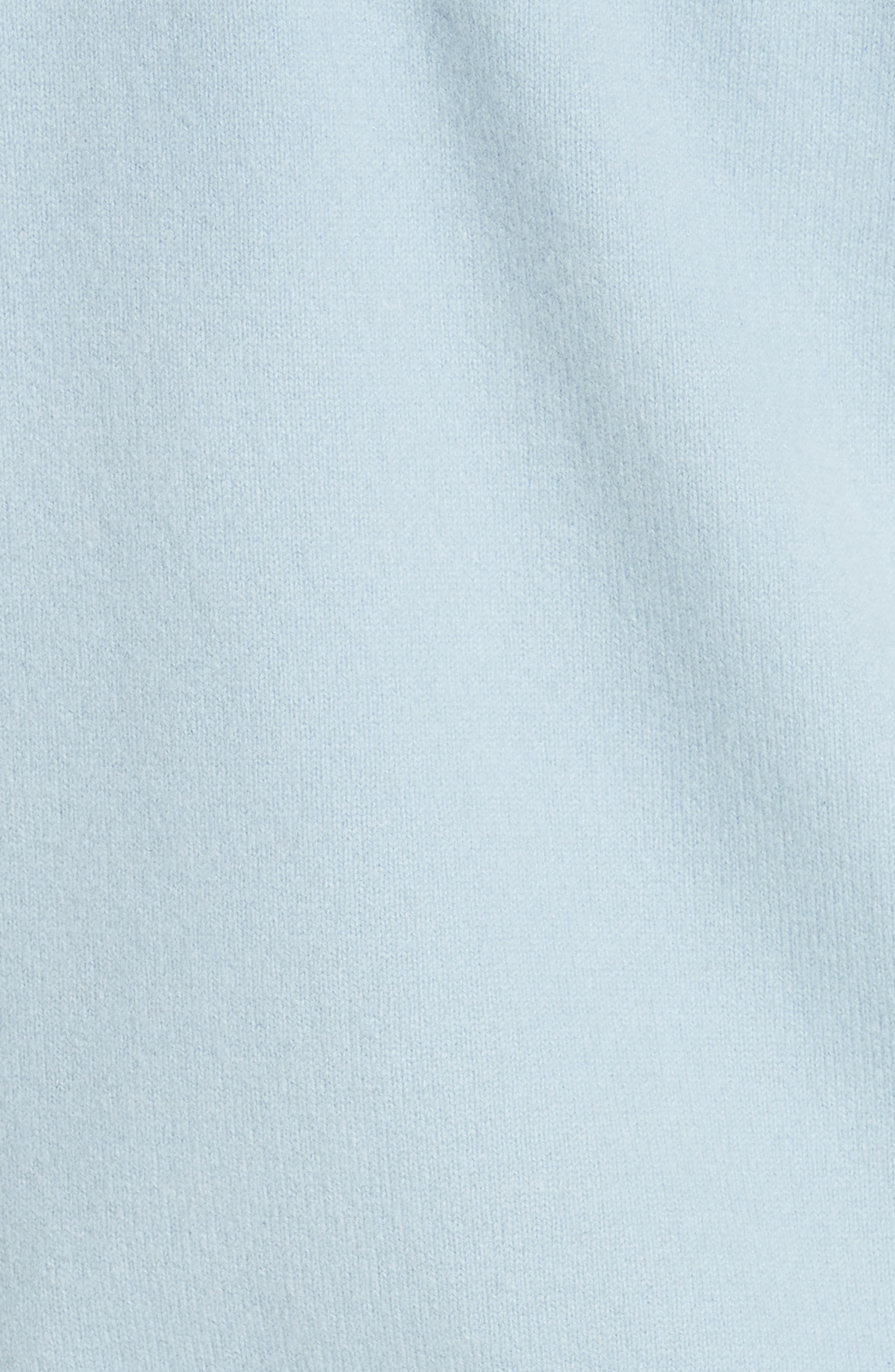 Cashmere Blend Zip Front Hoodie,                             Alternate thumbnail 5, color,                             BLUE FOG