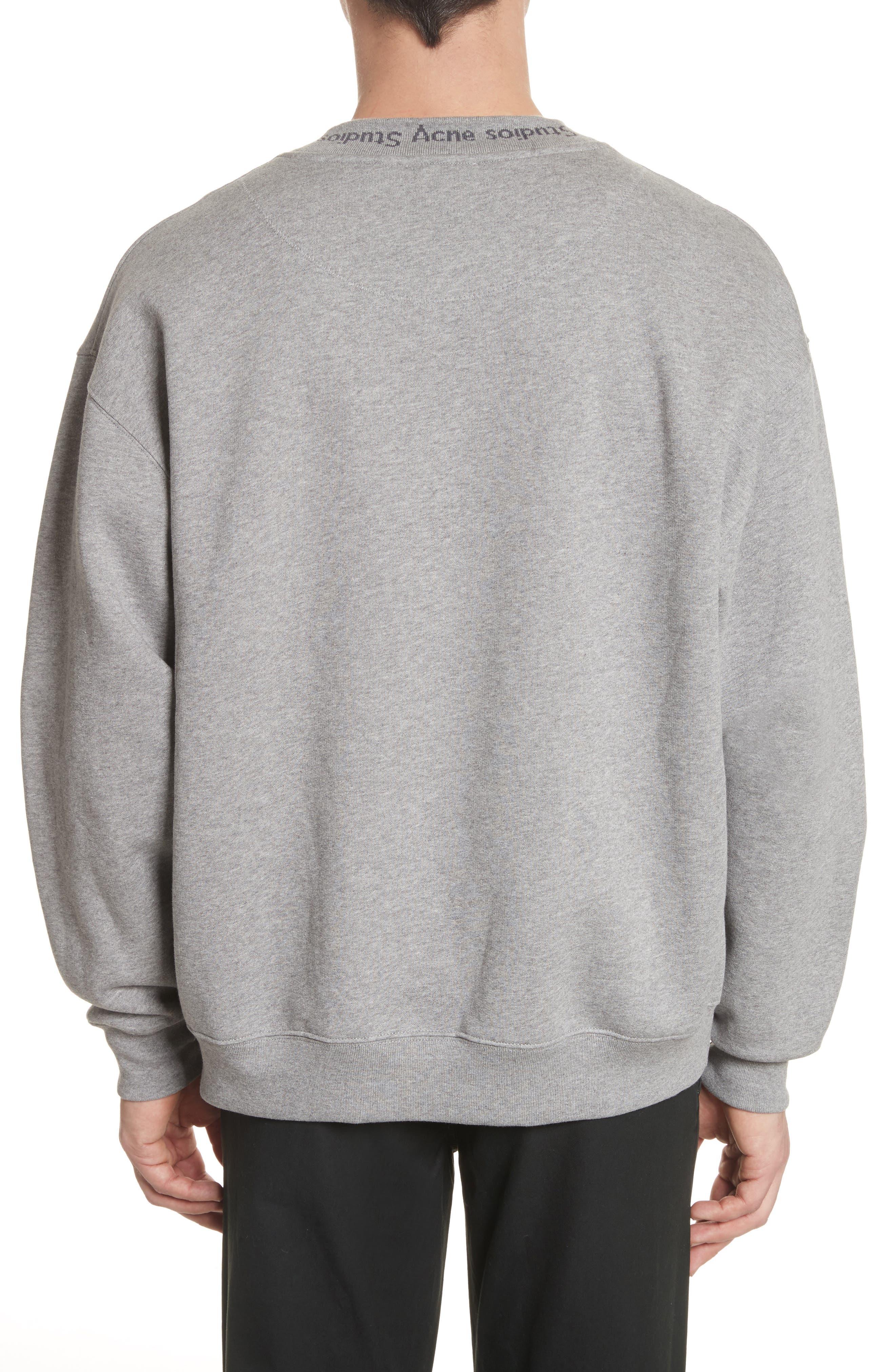 Flogo Oversize Cotton Sweatshirt,                             Alternate thumbnail 2, color,                             LIGHT GREY MELANGE