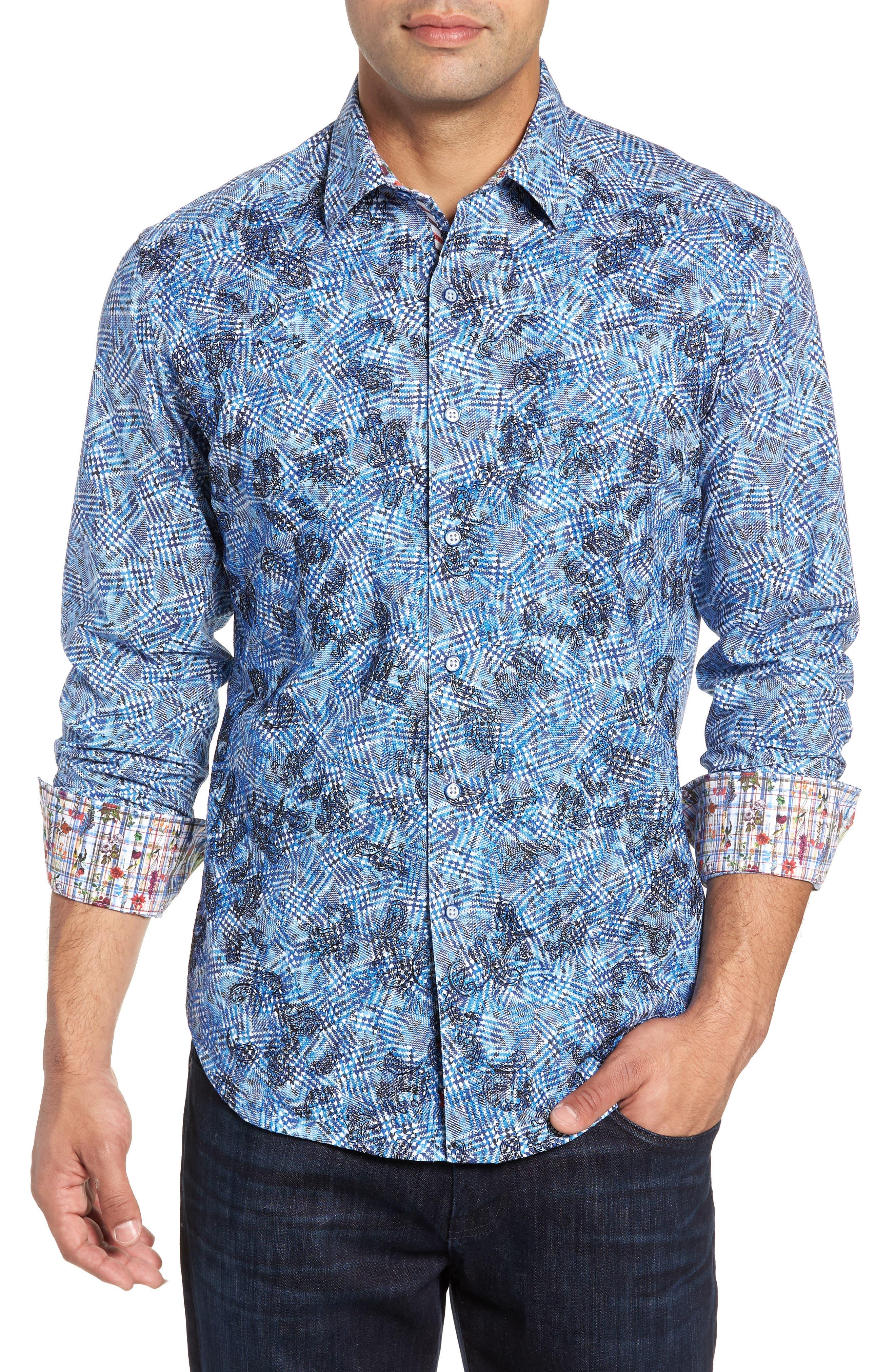 Hutchinson Classic Fit Print Sport Shirt,                             Main thumbnail 1, color,                             BLUE