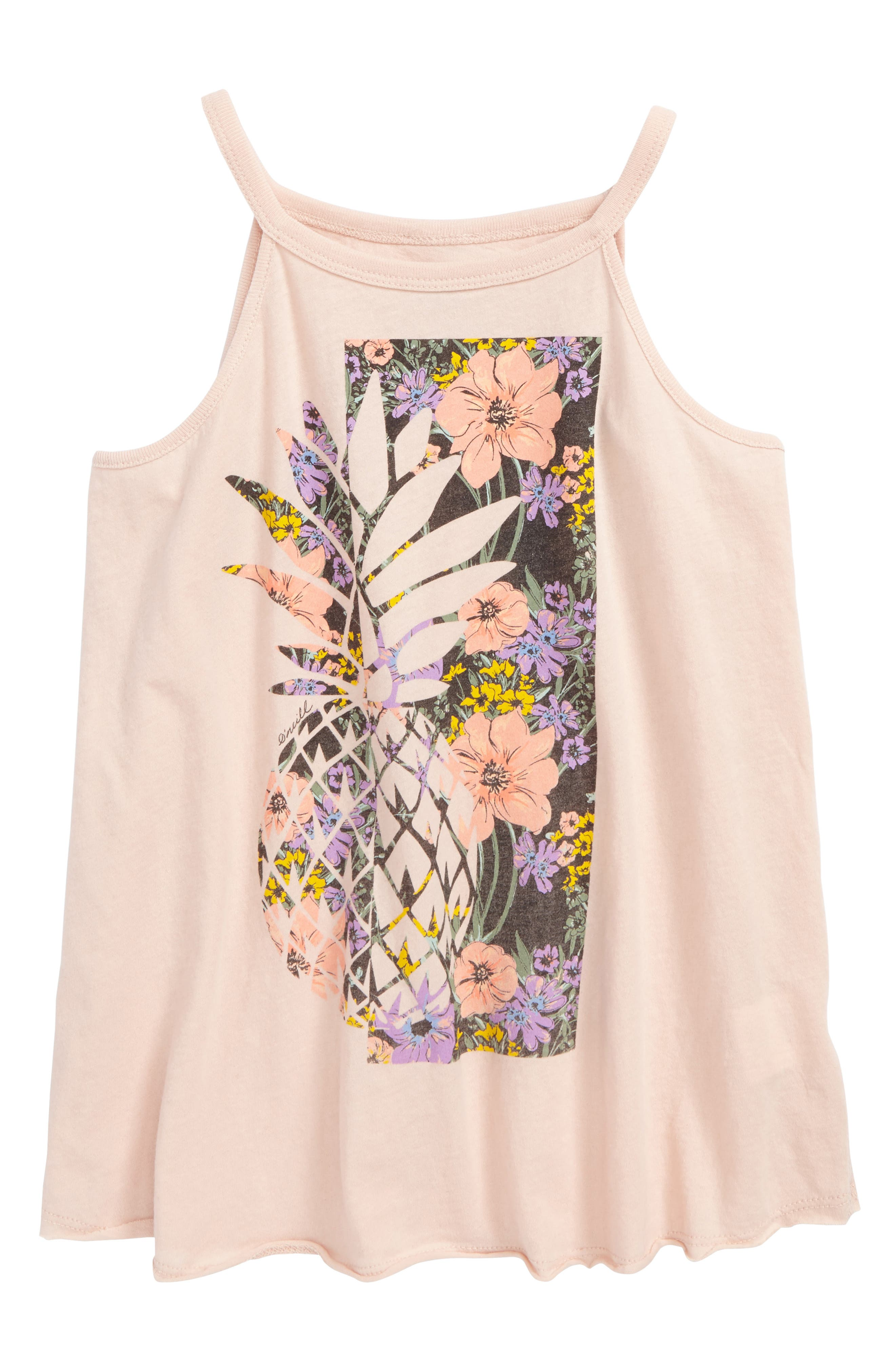 Pineapple Garden Graphic Tank,                             Main thumbnail 1, color,                             CAMEO ROSE - LLY