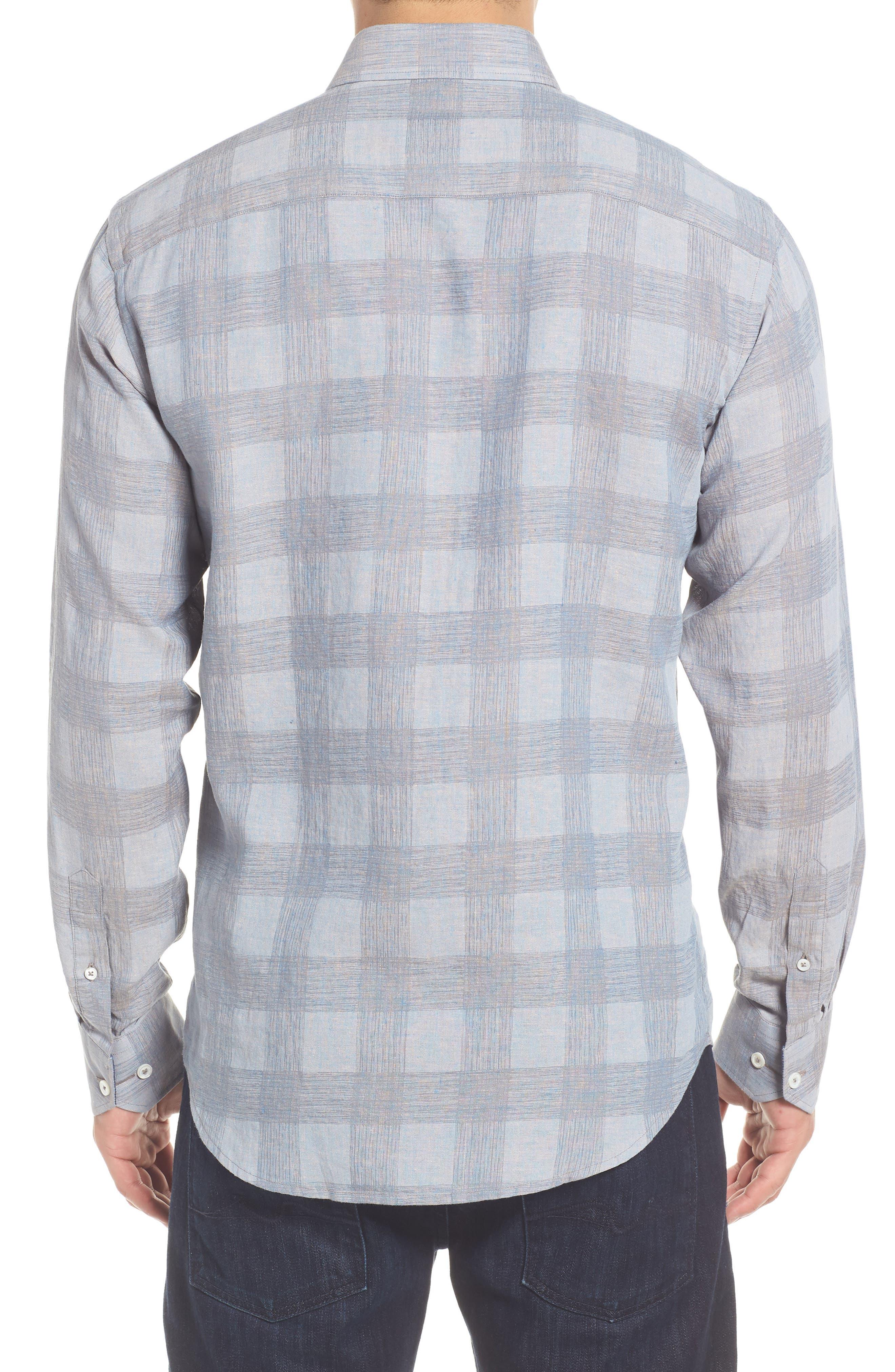 Shaped Fit Check Linen Blend Sport Shirt,                             Alternate thumbnail 2, color,                             STONE