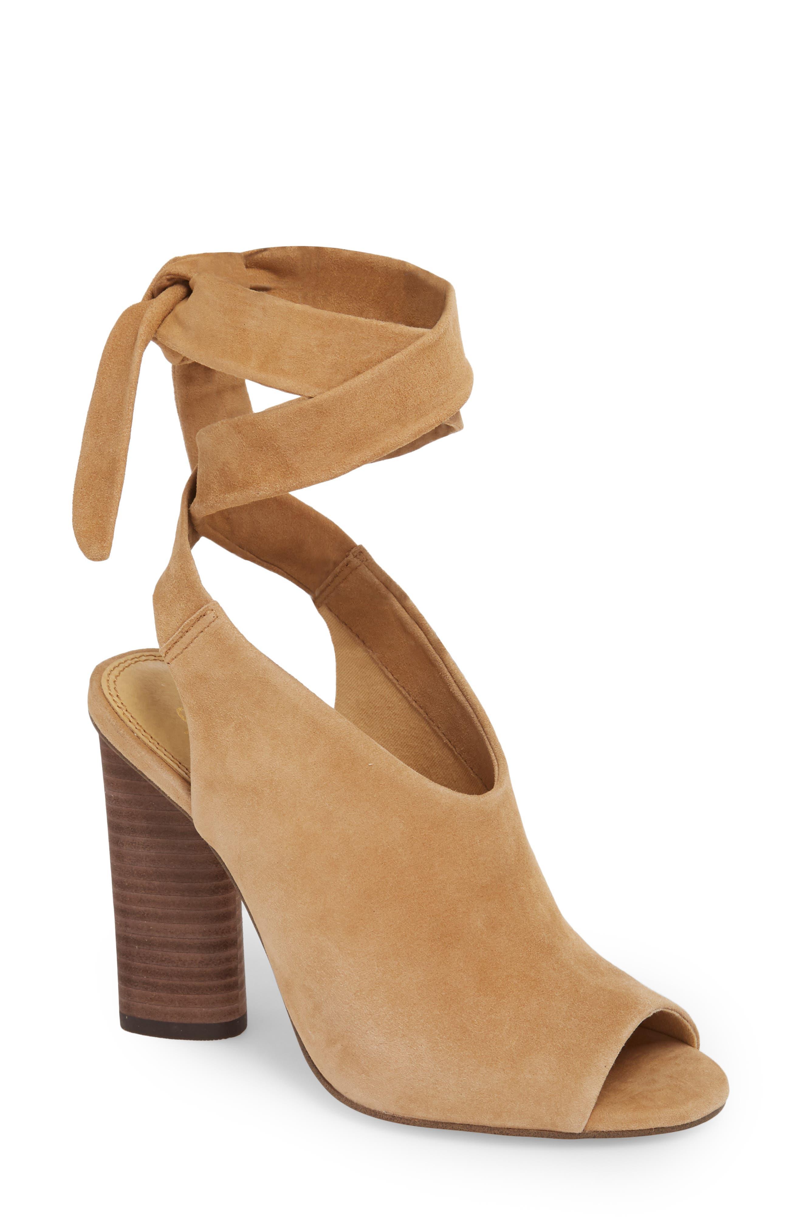 Navarro Ankle Wrap Sandal,                         Main,                         color, LIGHT OAK SUEDE