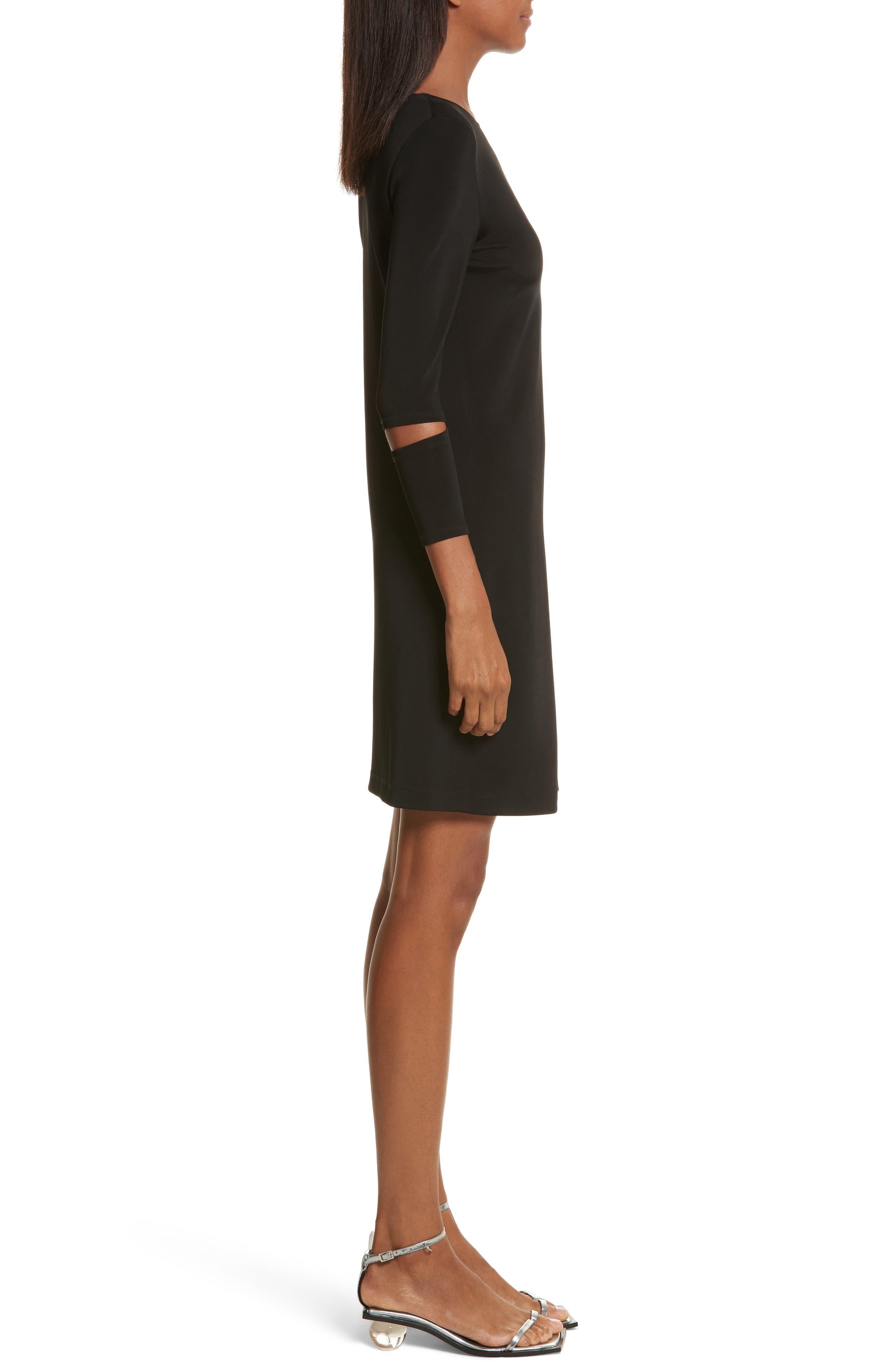 Detached Cuff Bondage Jersey Dress,                             Alternate thumbnail 3, color,                             001