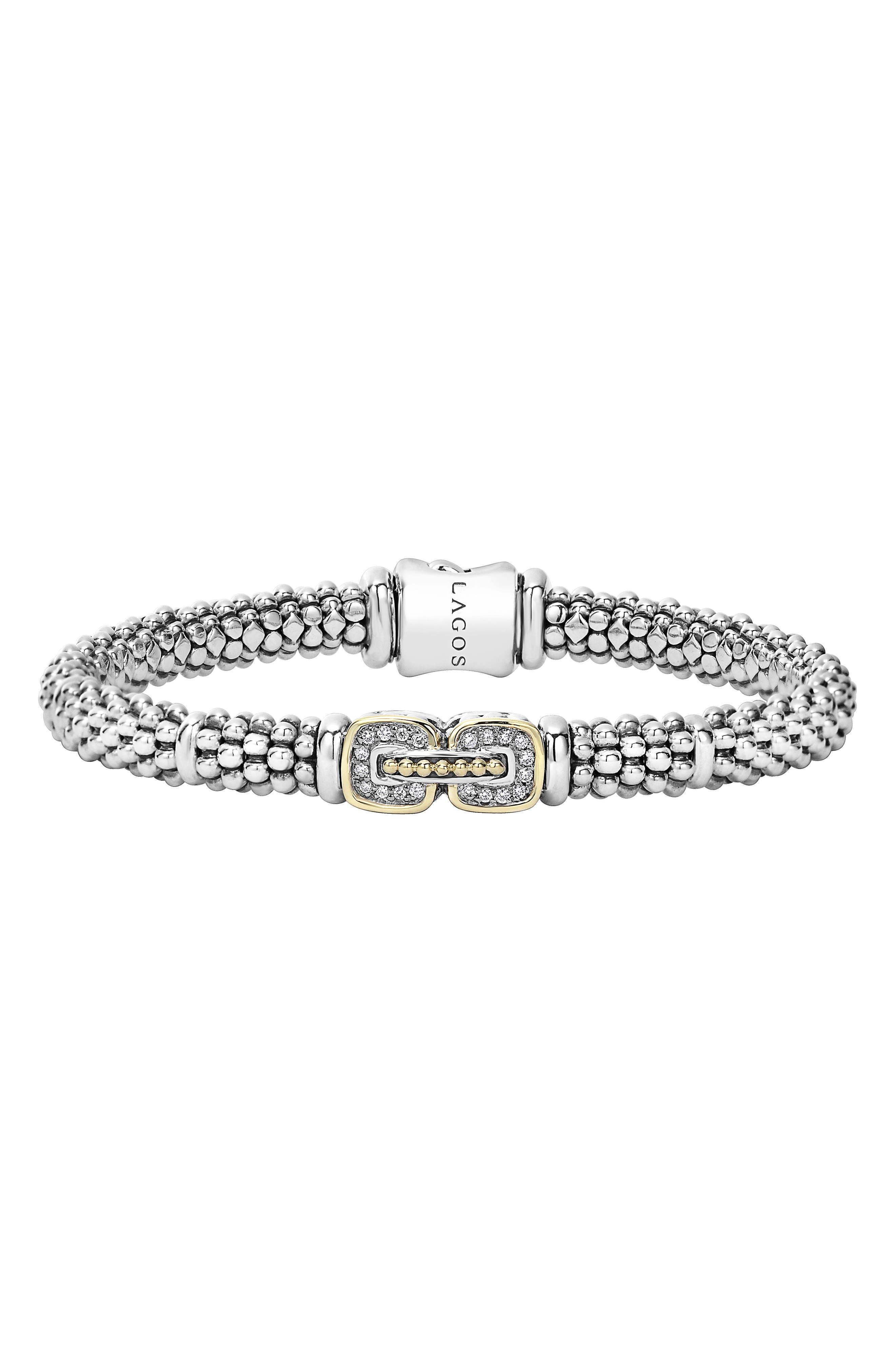 Caviar Cushion Diamond Station Bracelet,                             Main thumbnail 1, color,                             SILVER/ GOLD
