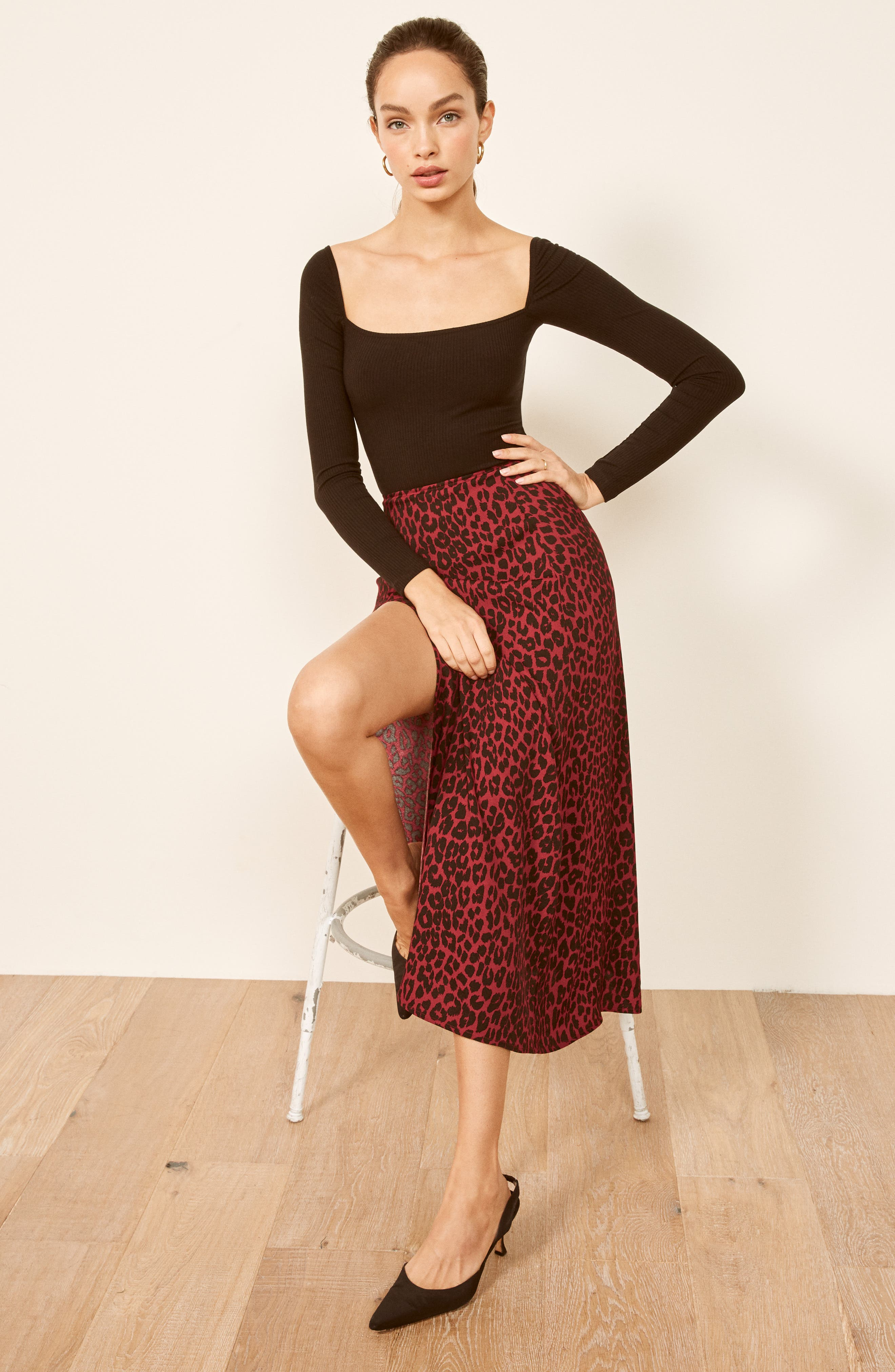 Zoe Side Slit Midi Skirt,                             Alternate thumbnail 2, color,                             WILDCAT