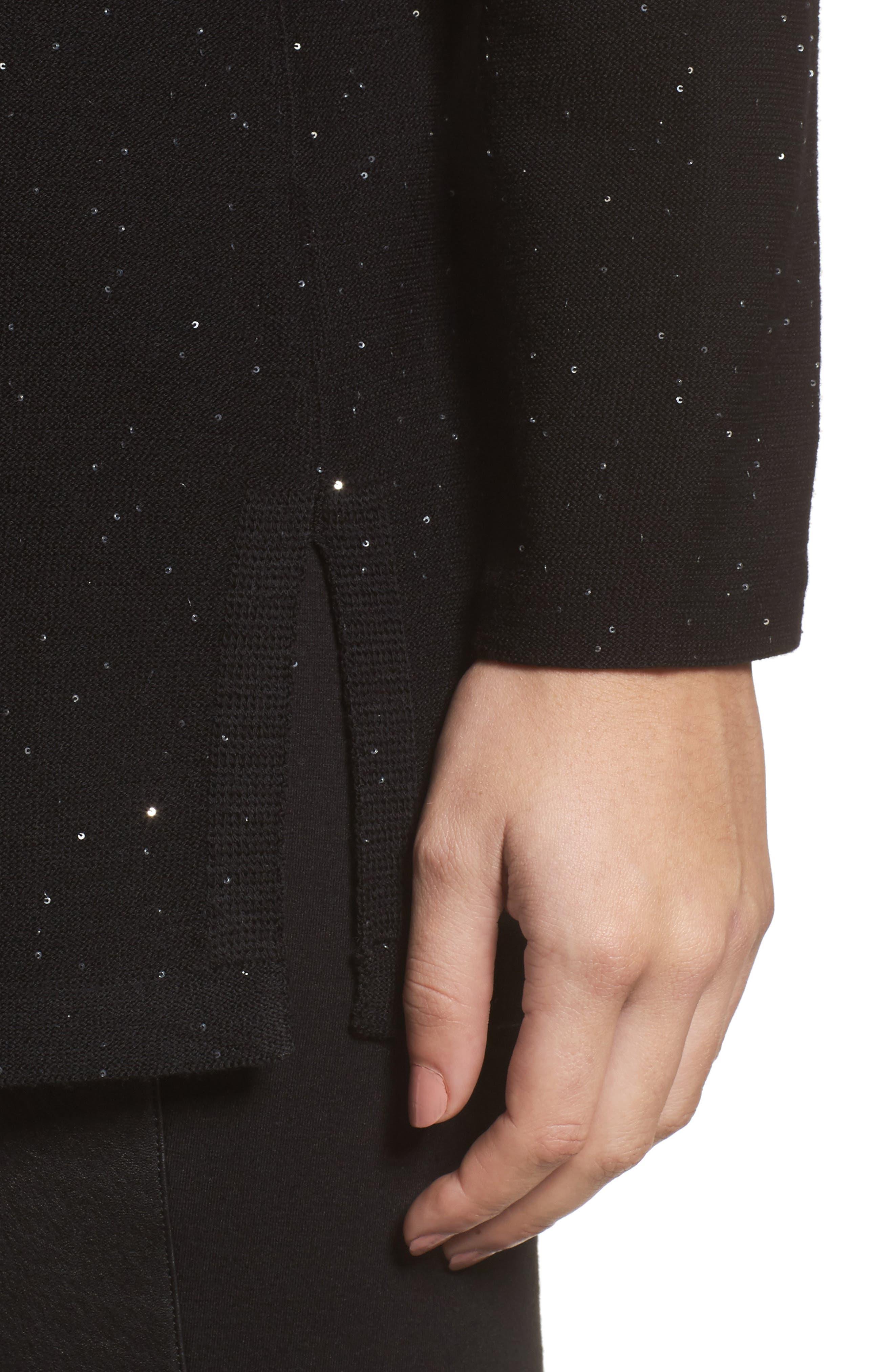Sequin Merino Wool Sweater,                             Alternate thumbnail 4, color,                             001