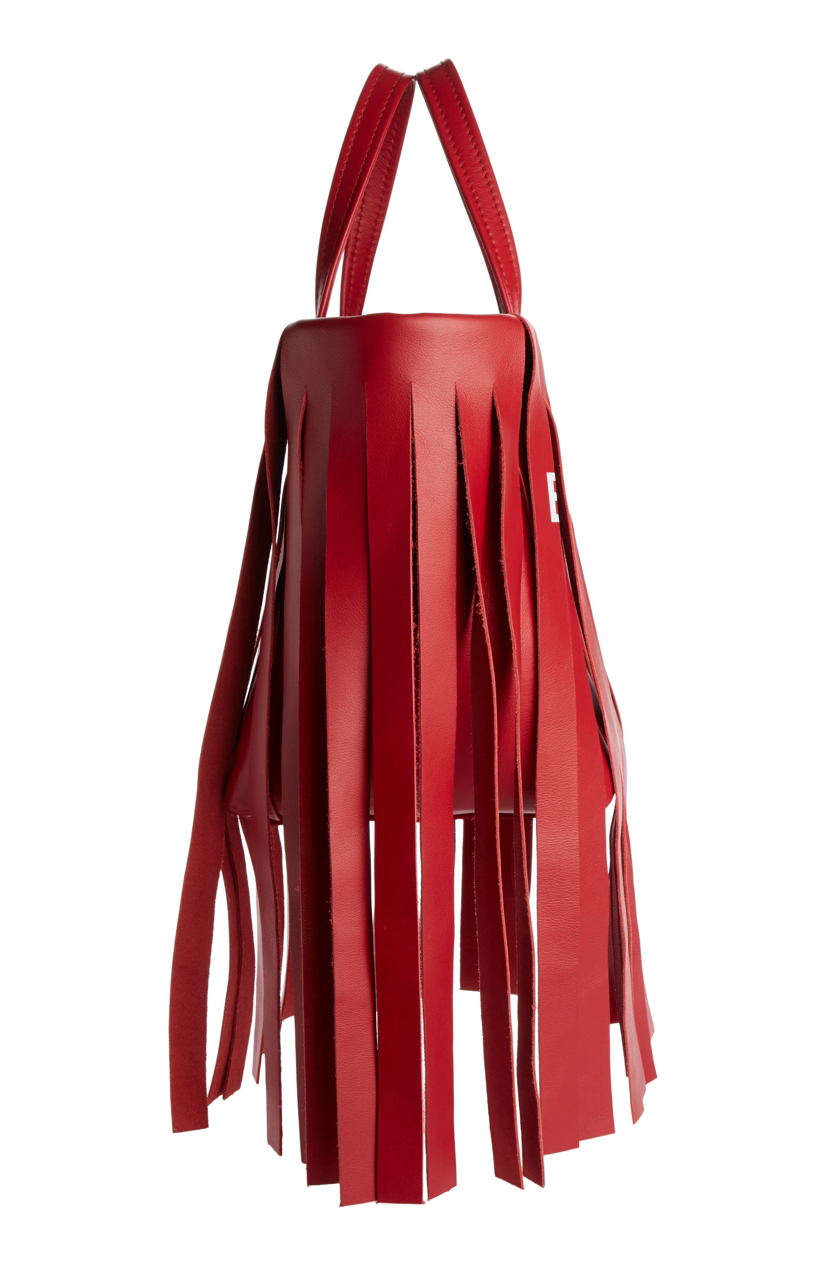 Extra Small Laundry Logo Fringe Calfskin Tote,                             Alternate thumbnail 3, color,                             RED TULIPE/ BLANC