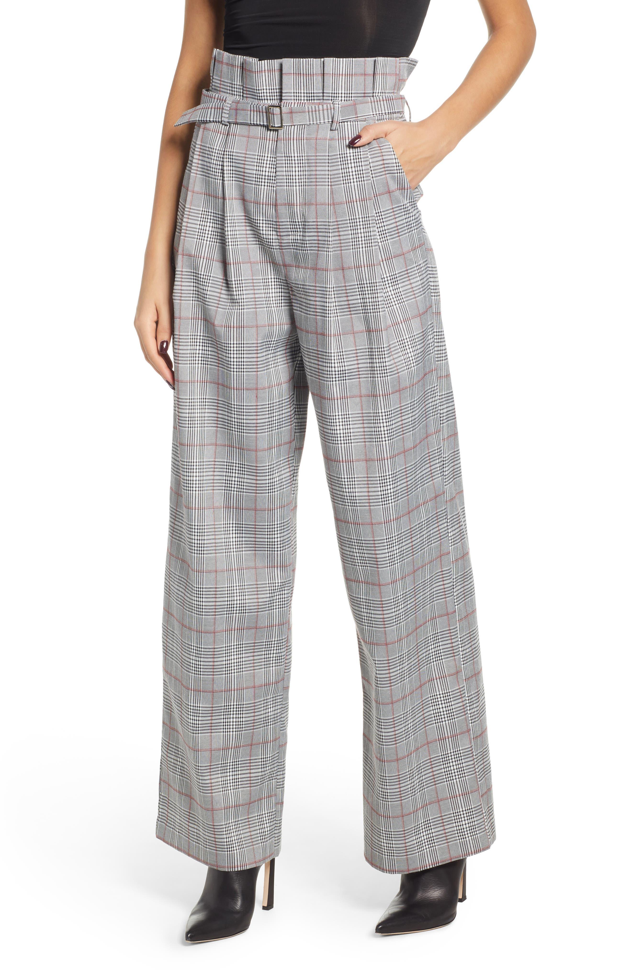 ENGLISH FACTORY High Waist Plaid Pants, Main, color, 020