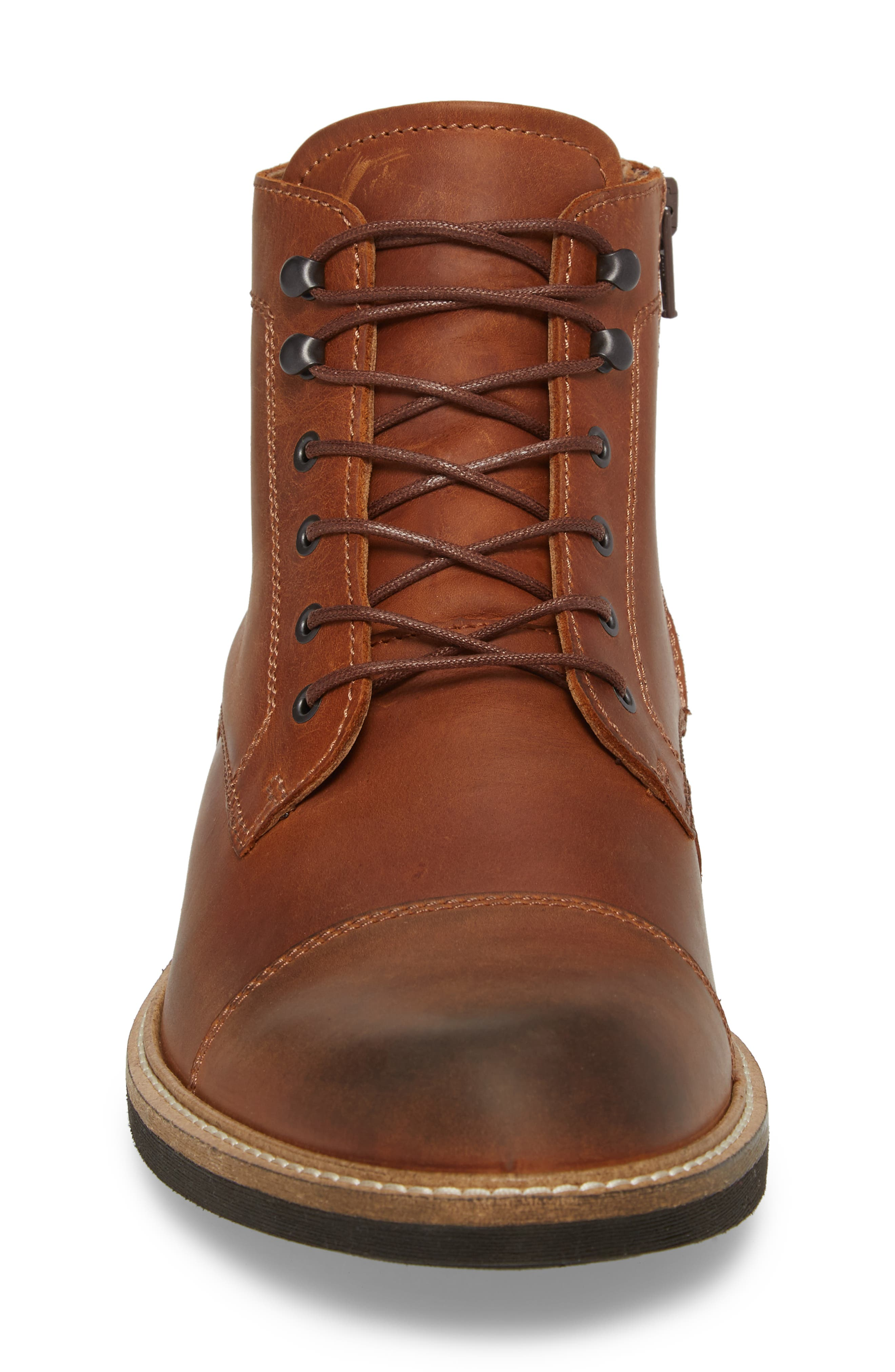 Kenton Vintage Cap Toe Boot,                             Alternate thumbnail 4, color,                             COGNAC LEATHER