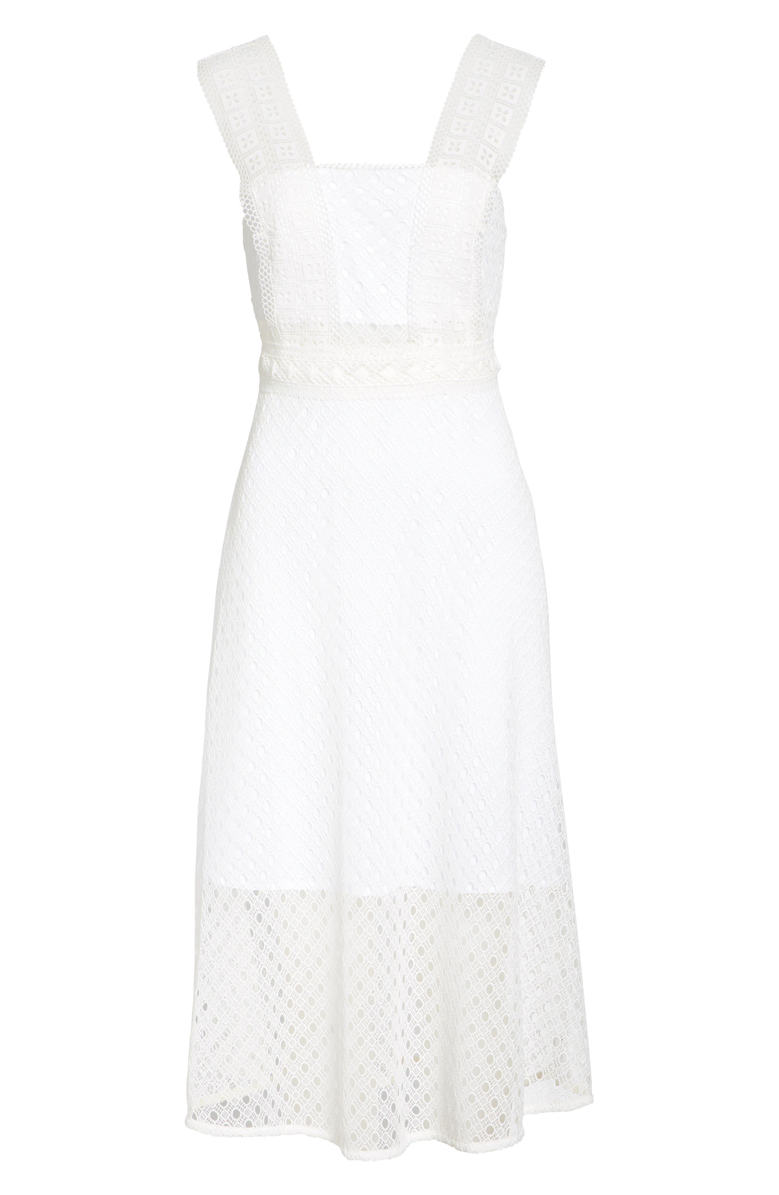 Blanc Lace Square Neck Dress,                             Alternate thumbnail 6, color,                             100