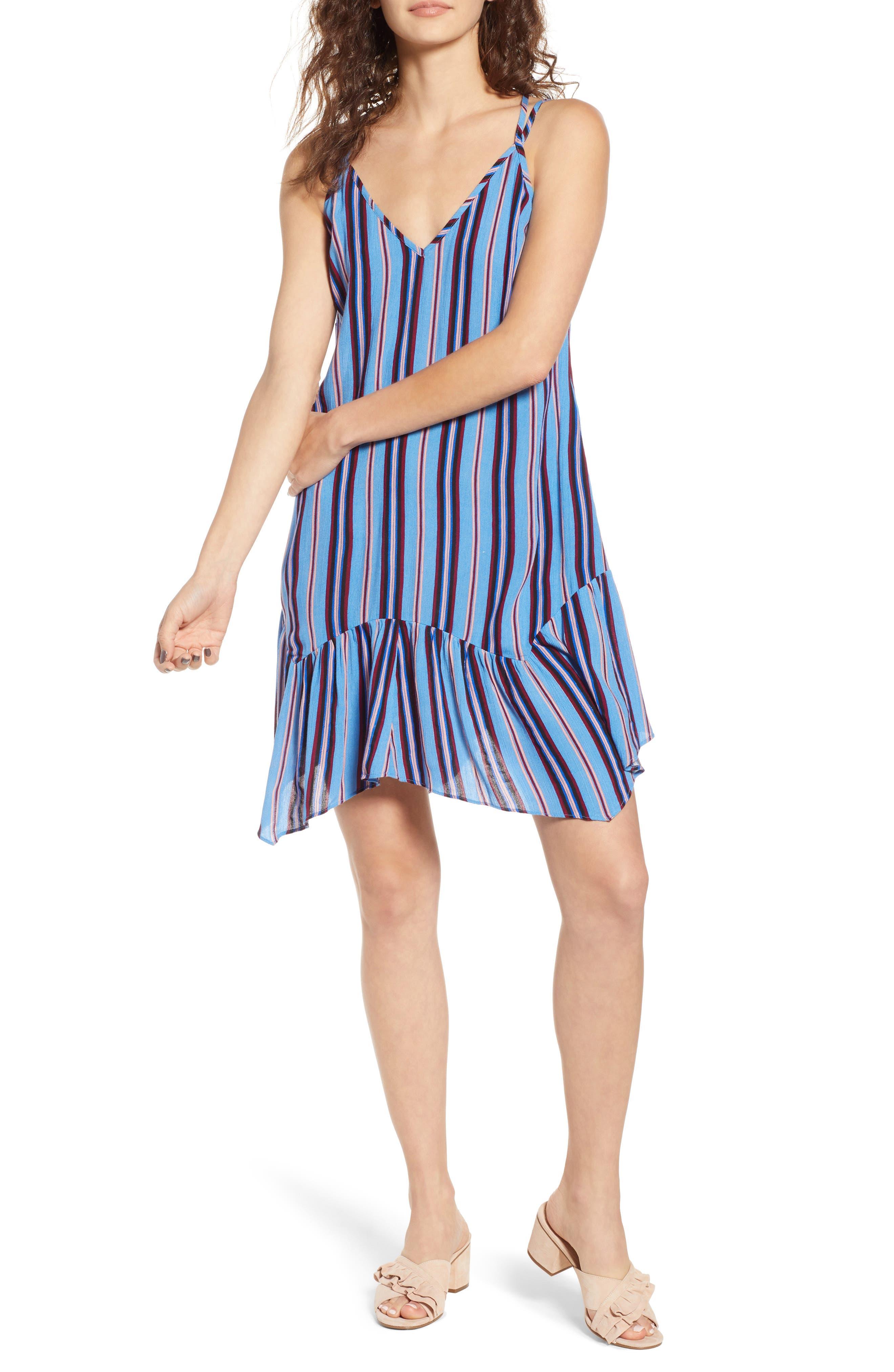 Selena Handkerchief Hem Slip Dress,                             Main thumbnail 1, color,                             500