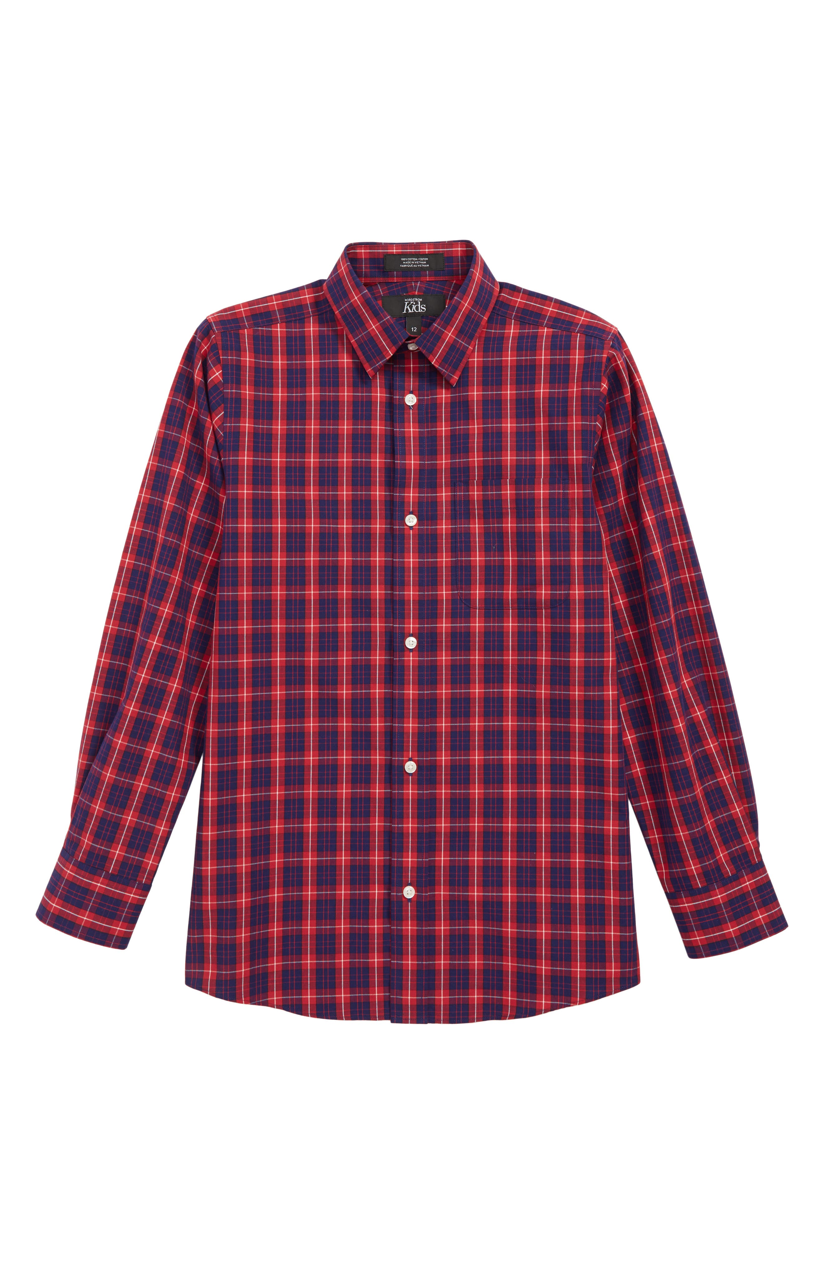 Tartan Dress Shirt,                         Main,                         color, RED SAGE- NAVY TARTAN