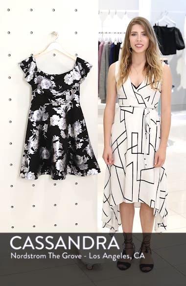 Off the Shoulder Foil Scuba Fit & Flare Dress, sales video thumbnail