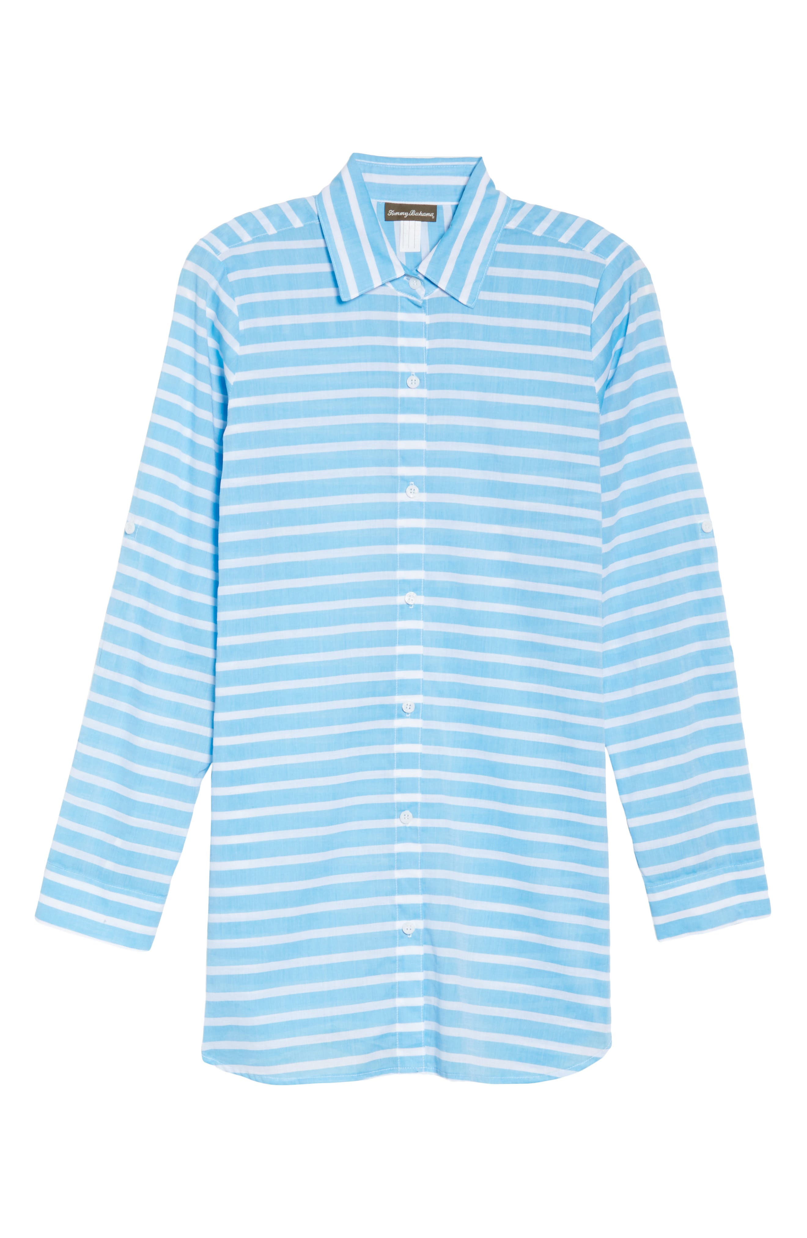 Brenton Stripe Boyfriend Shirt Cover-Up,                             Alternate thumbnail 17, color,