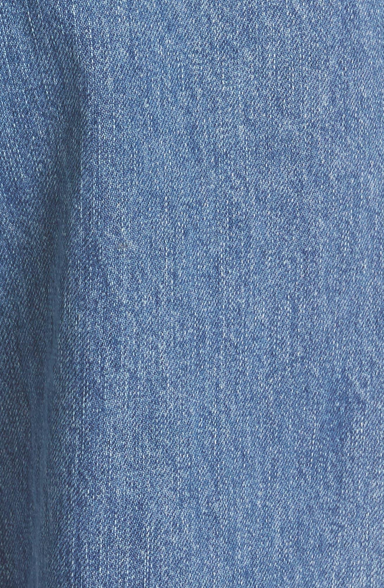 Crop Frayed Wide Leg Jeans,                             Alternate thumbnail 5, color,                             VINTAGE WASH 4