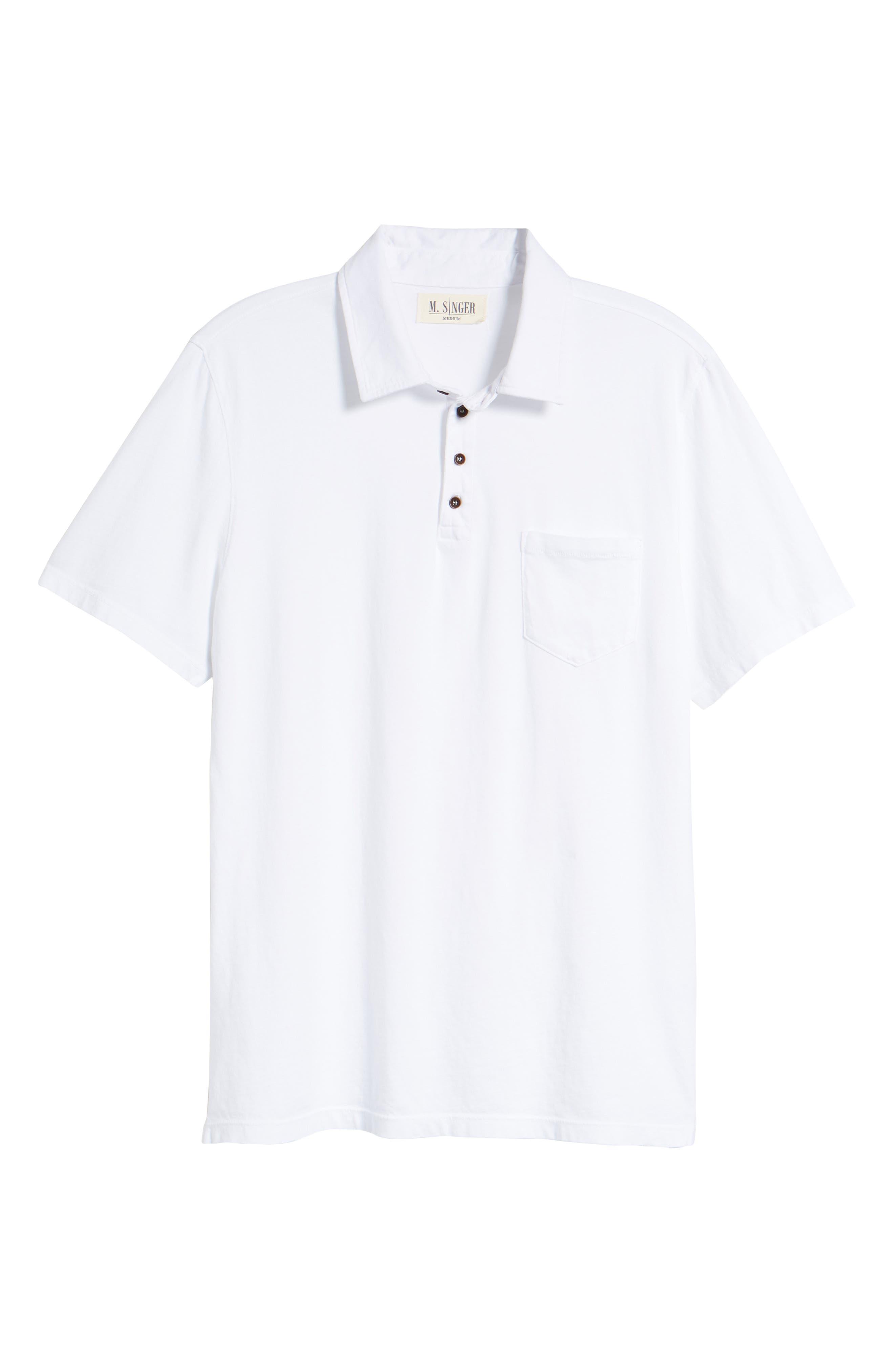 M.SINGER,                             Regular Fit Pocket Polo,                             Alternate thumbnail 6, color,                             WHITE