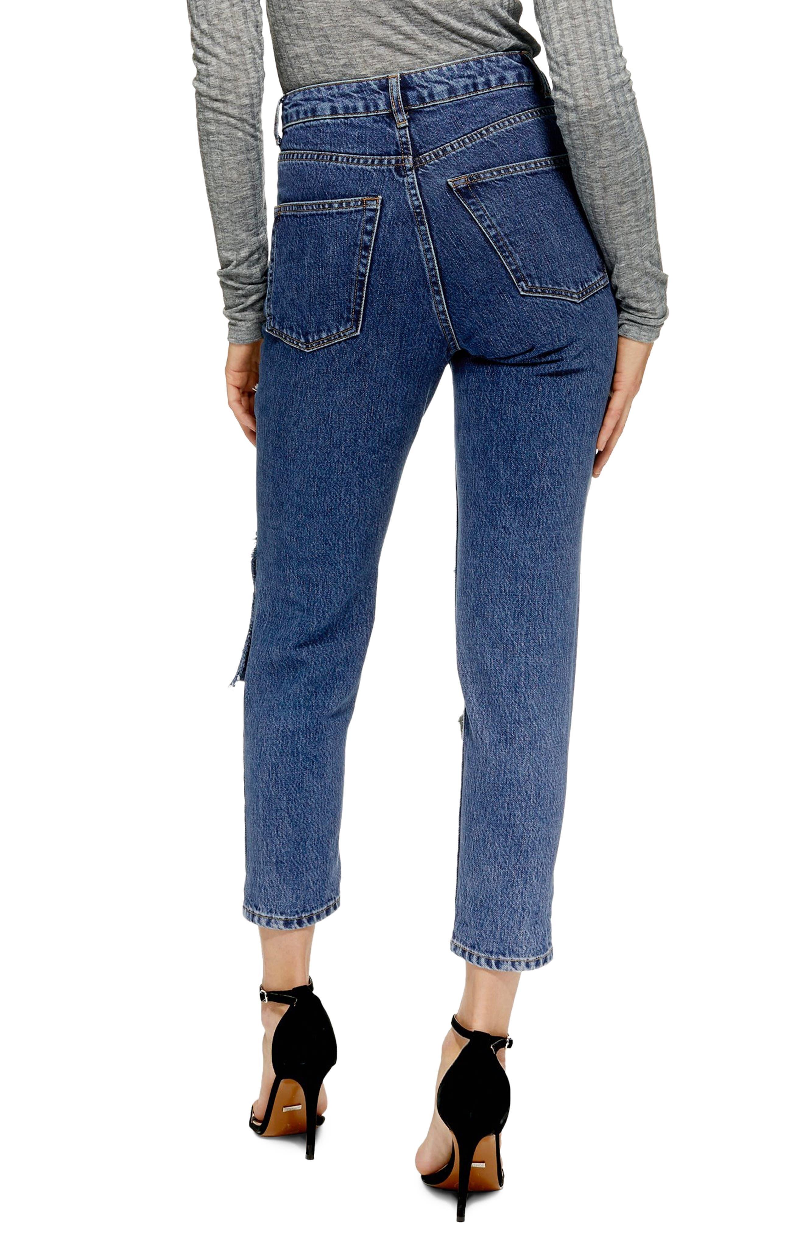Slash Mom Jeans,                             Alternate thumbnail 2, color,                             MID DENIM