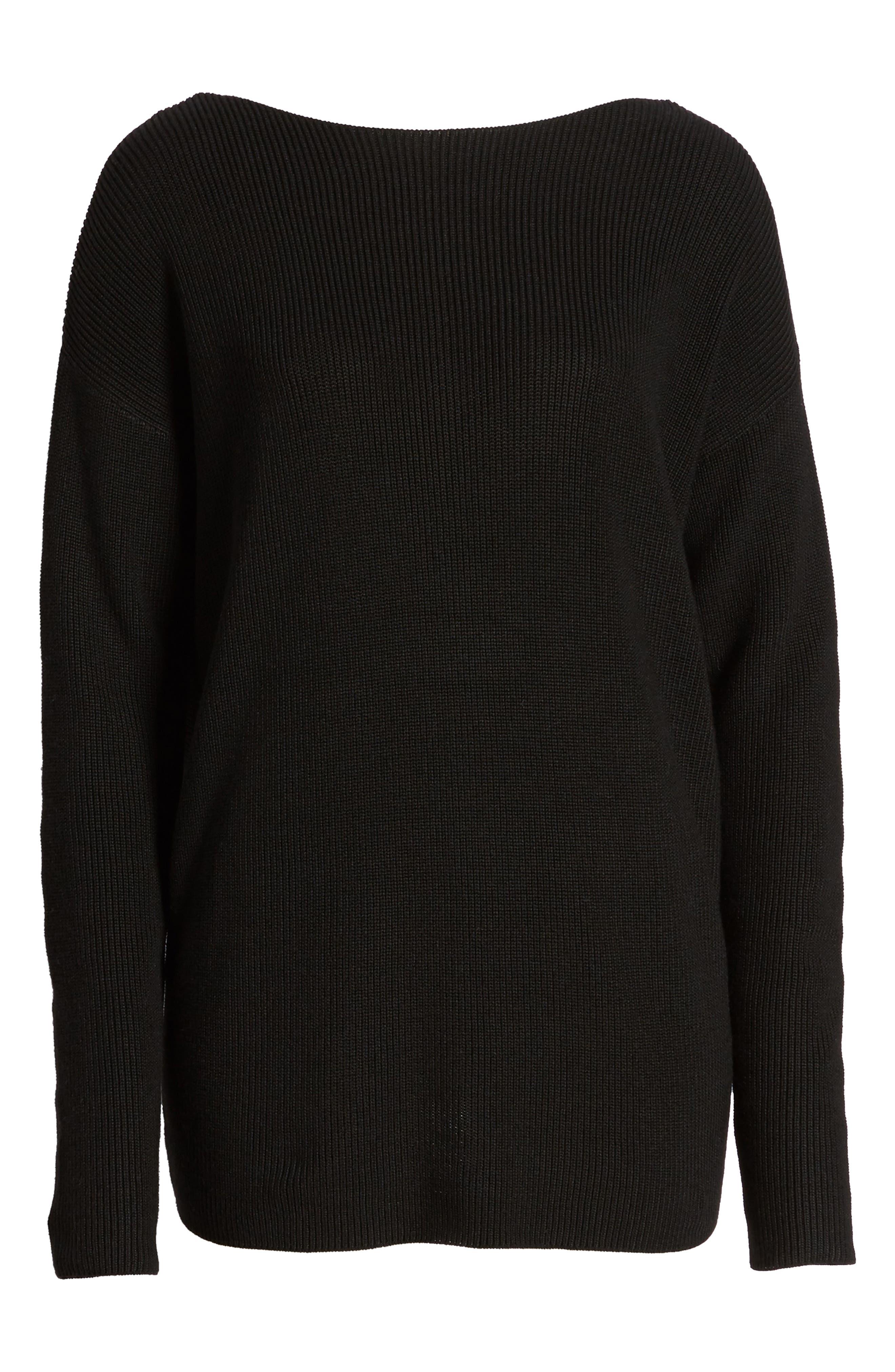 Twist Back Sweater,                             Alternate thumbnail 6, color,                             001