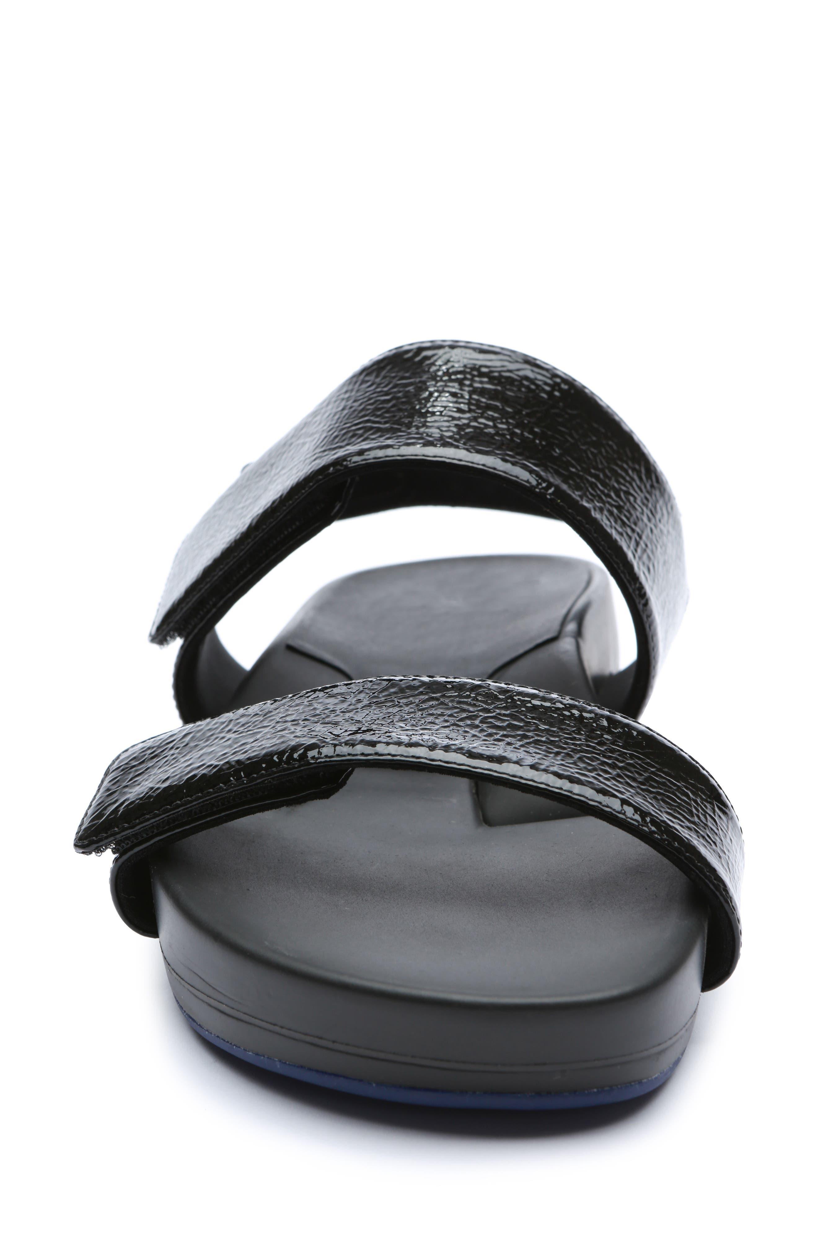Figulous Sandal,                             Alternate thumbnail 4, color,                             BLACK CRINKLE PATENT LEATHER