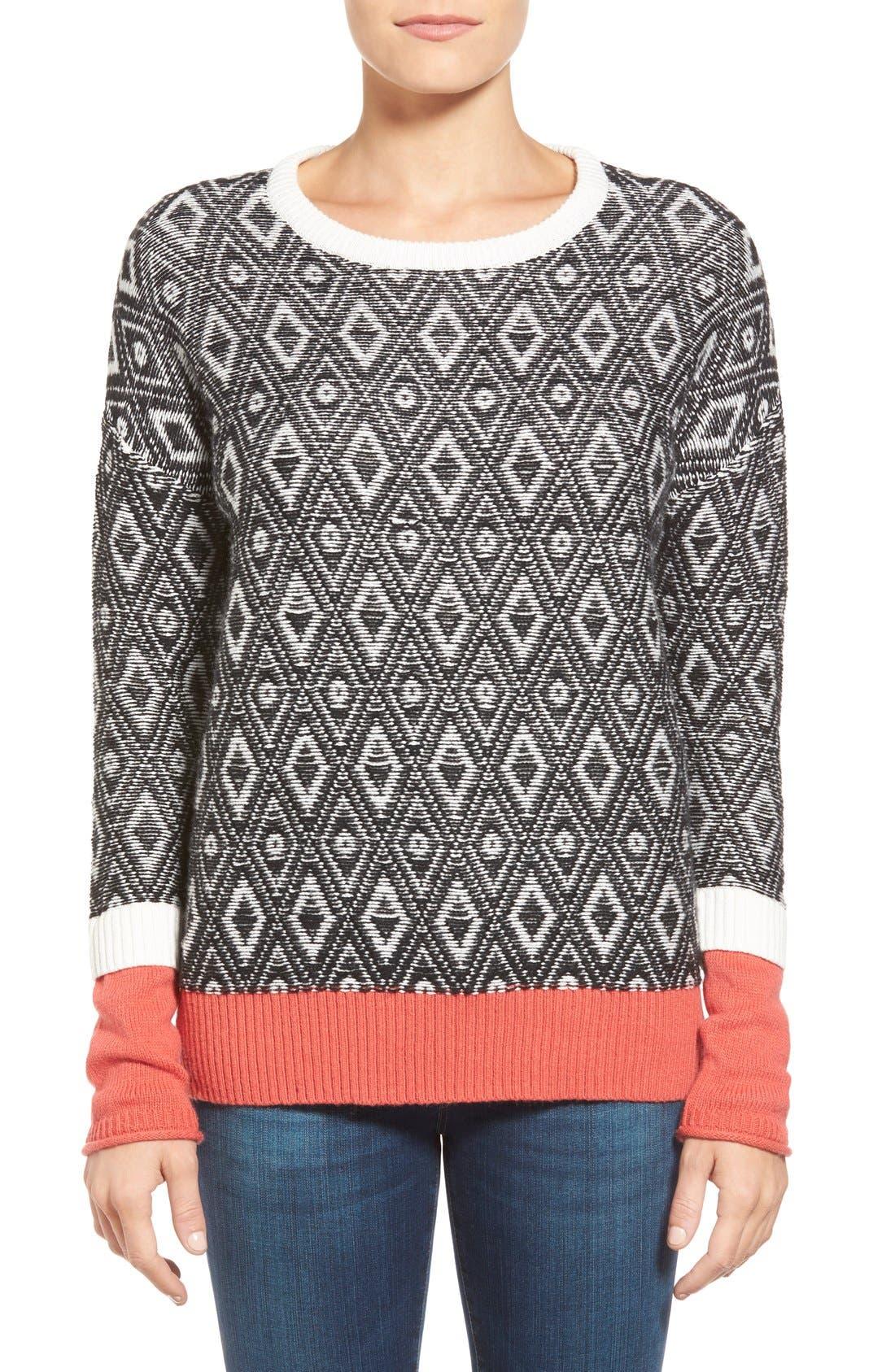 Contrast Cuff Crewneck Sweater,                             Main thumbnail 11, color,