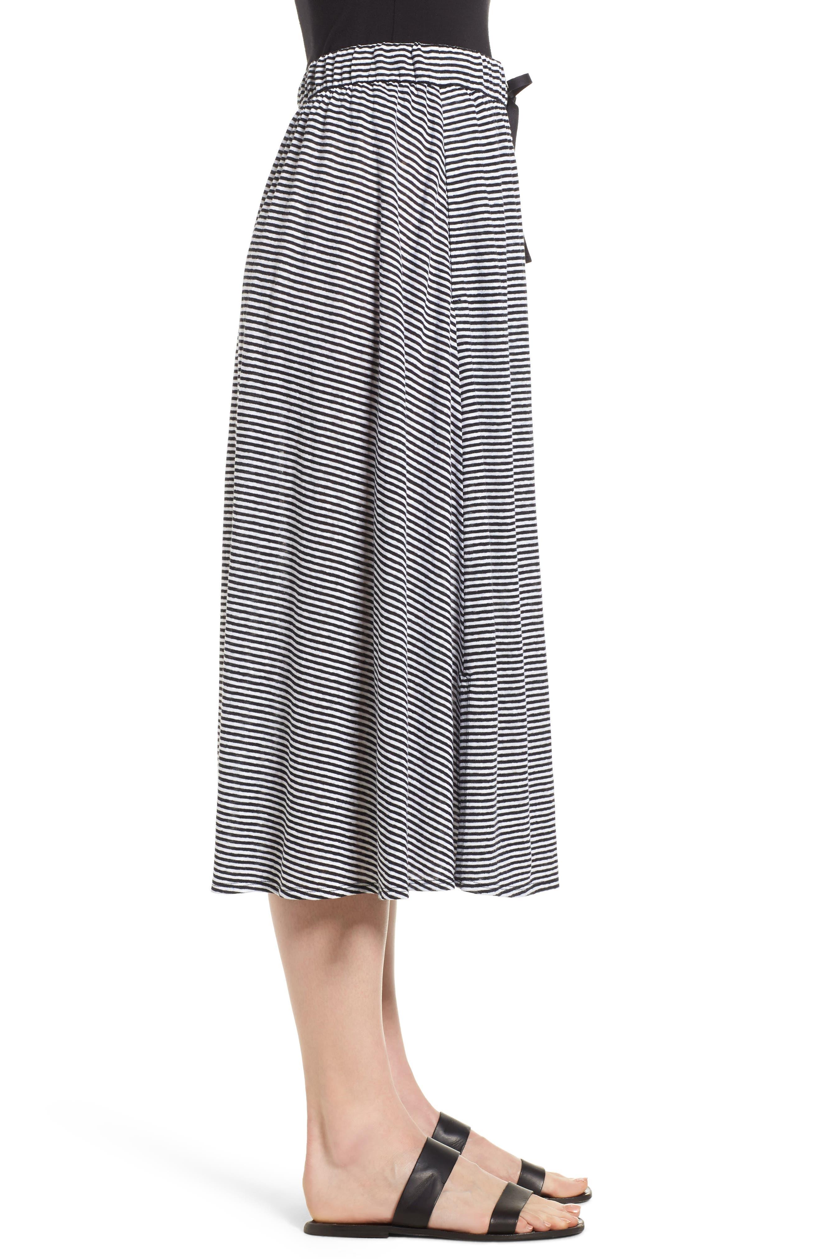 Flared Stripe Organic Linen Skirt,                             Alternate thumbnail 5, color,