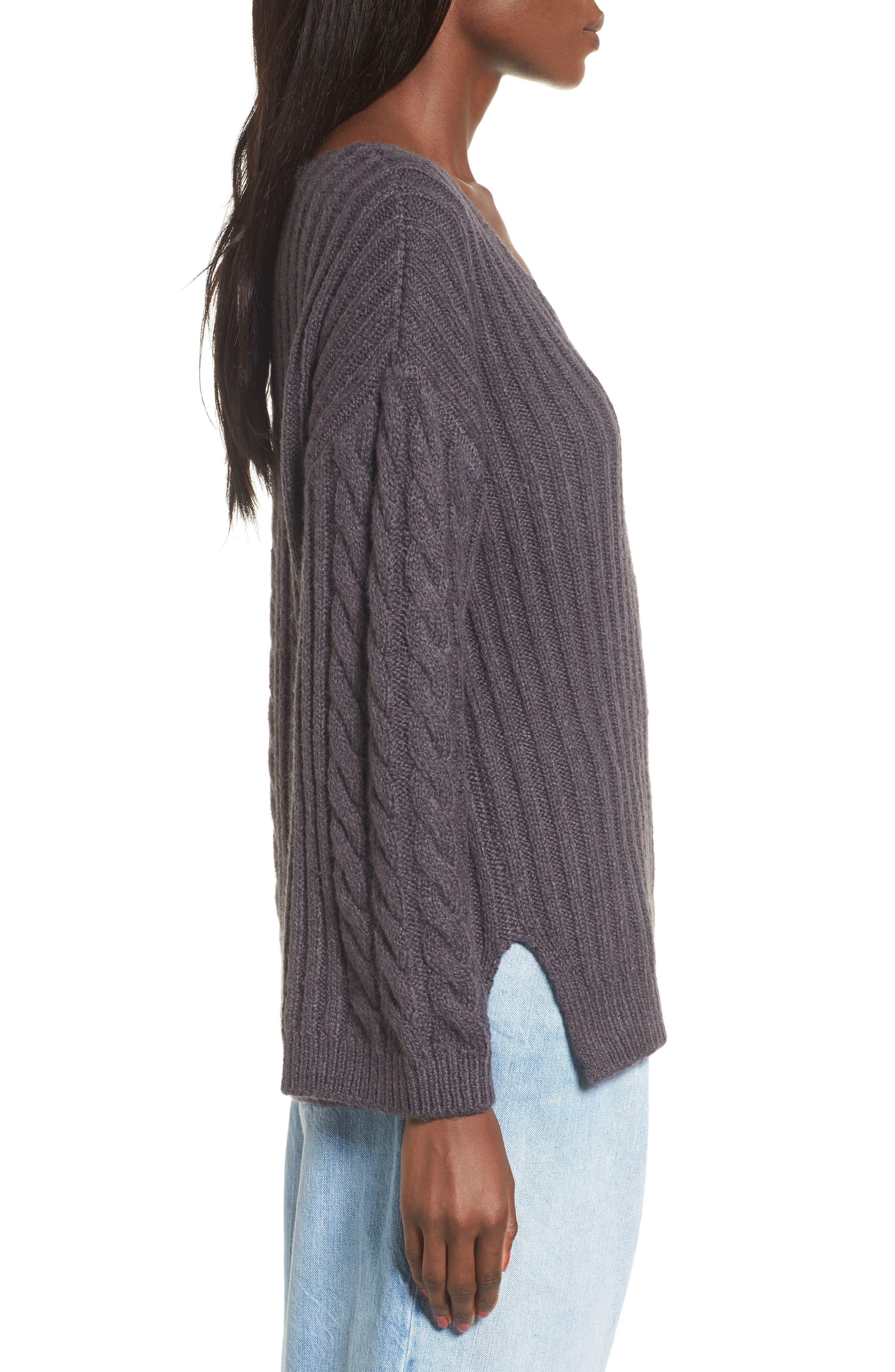 Mix Stitch Cotton Blend Sweater,                             Alternate thumbnail 3, color,                             021