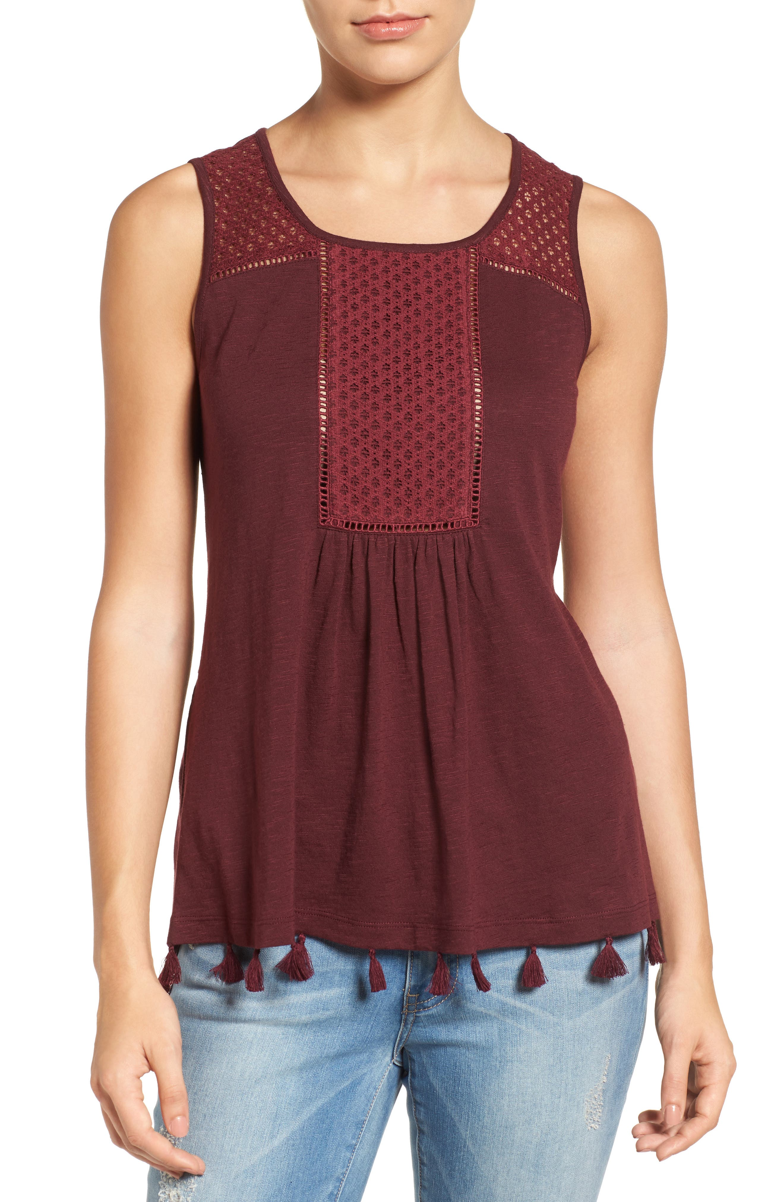 Tassel Trim Embroidered Tank,                             Main thumbnail 7, color,