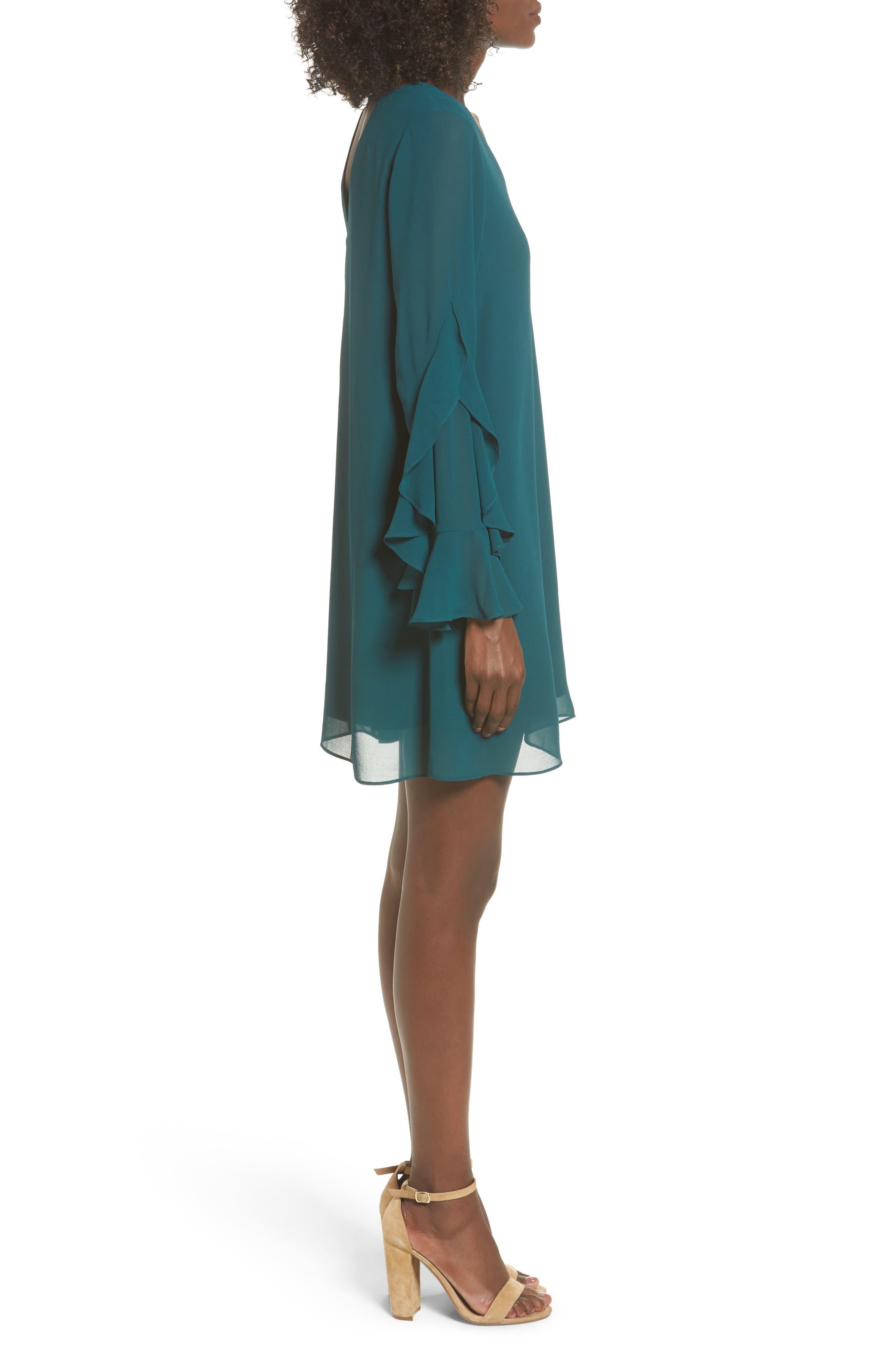 Ruffle Sleeve Shift Dress,                             Alternate thumbnail 9, color,
