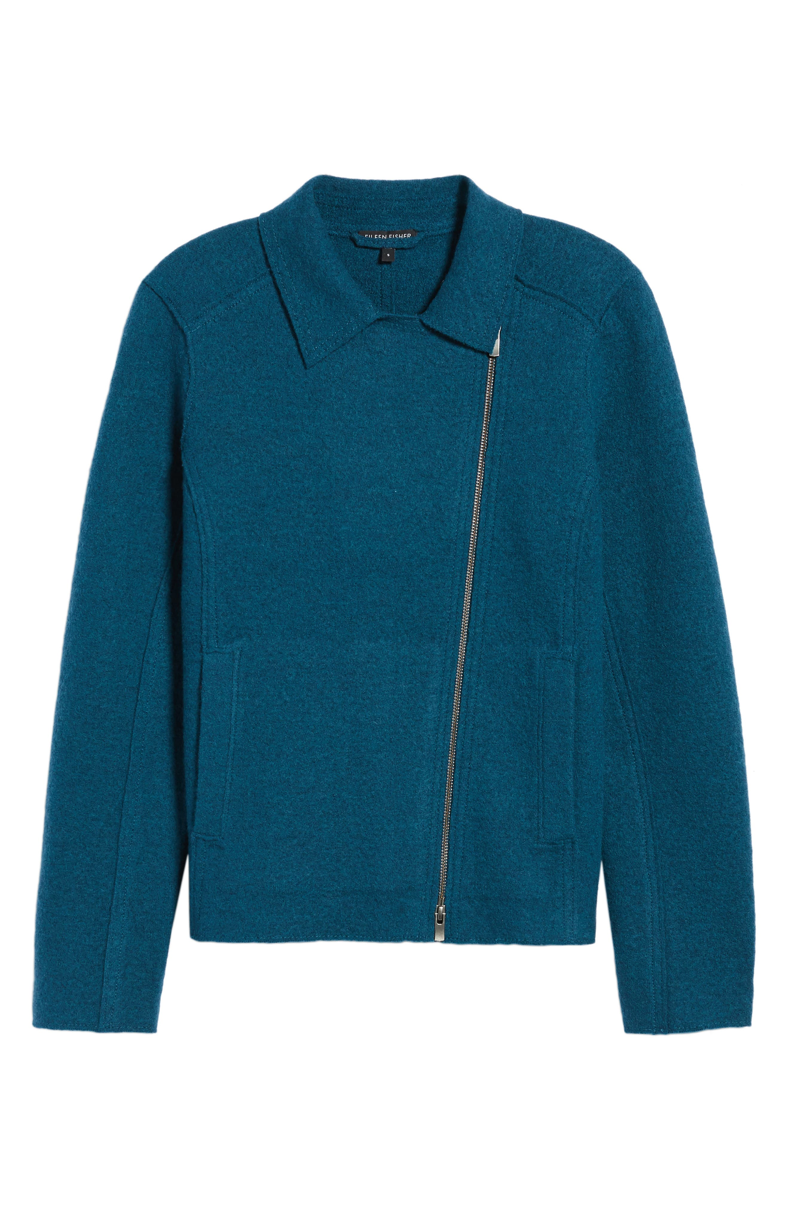 Boiled Wool Moto Jacket,                             Alternate thumbnail 19, color,