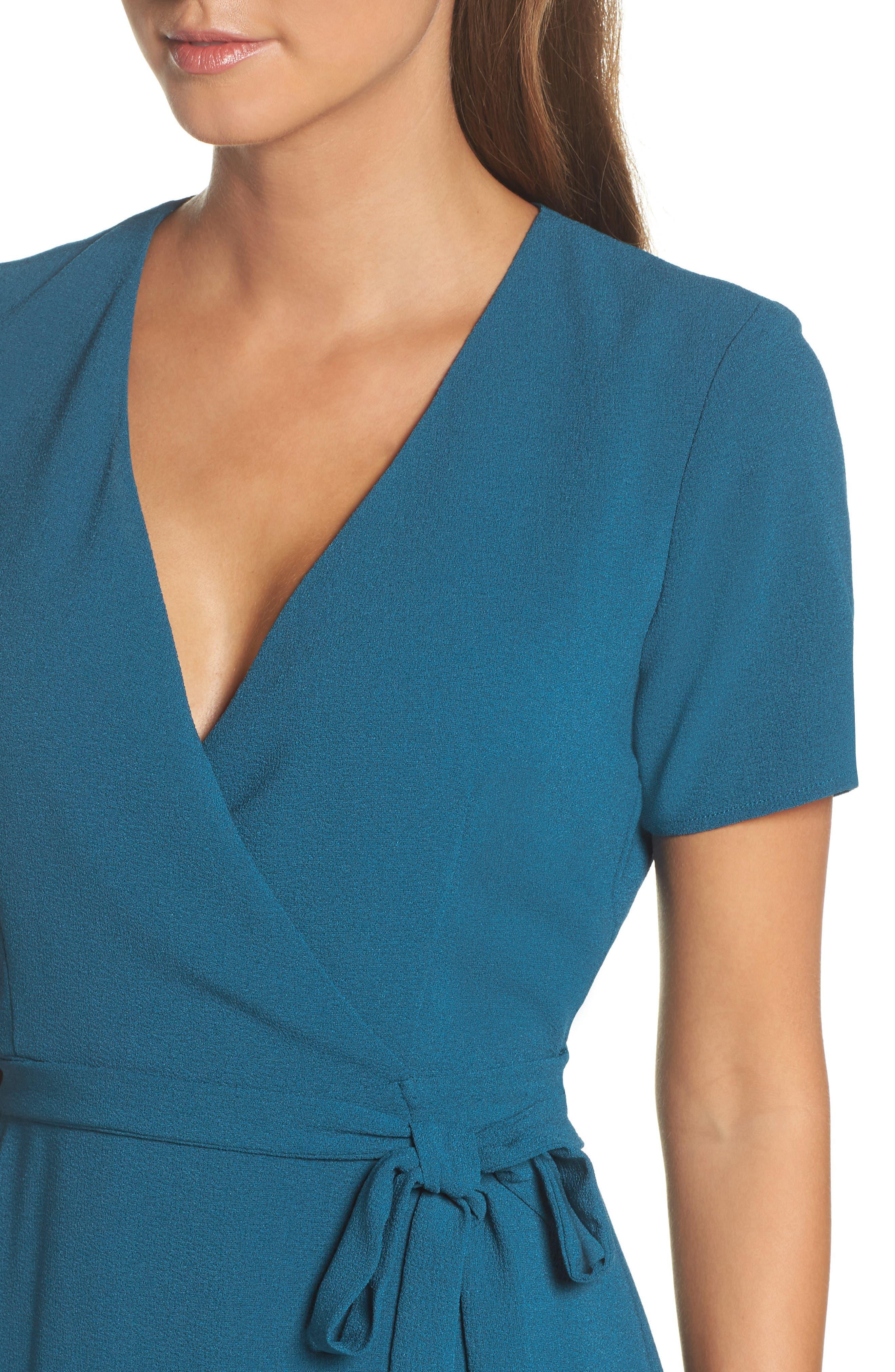 Crepe Wrap Dress,                             Alternate thumbnail 4, color,                             406