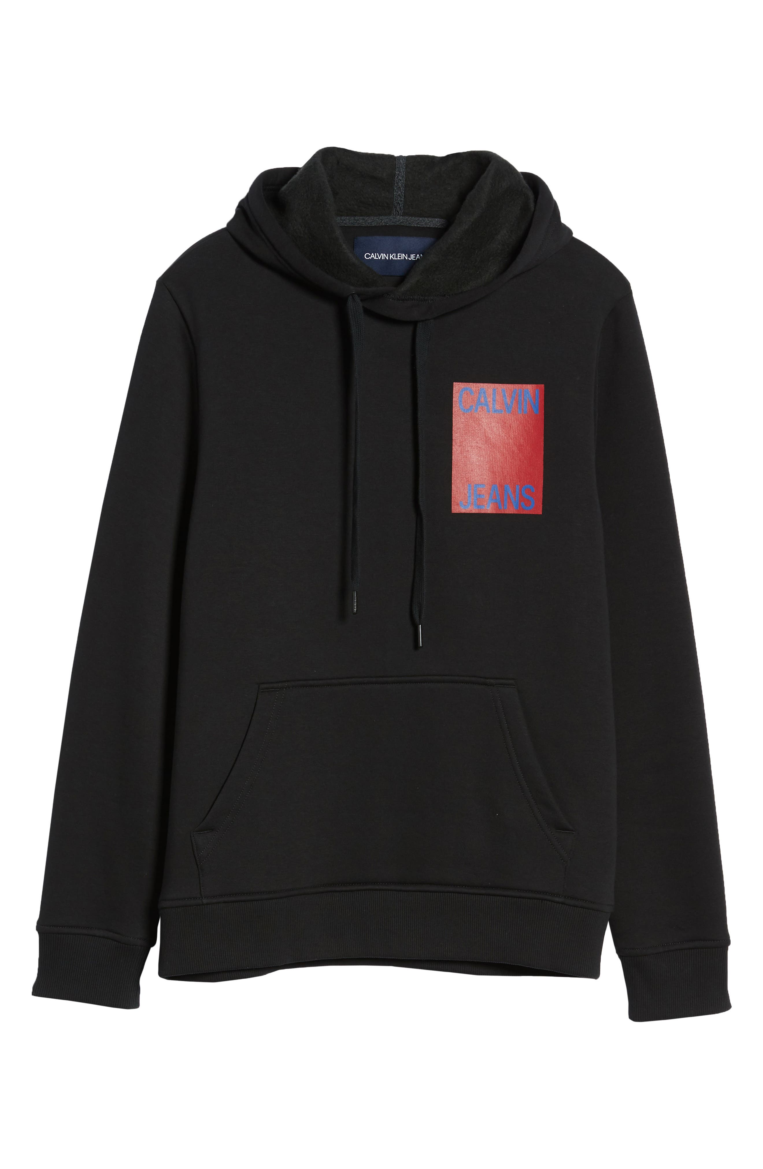 CALVIN KLEIN JEANS,                             Stacked Logo Hoodie,                             Alternate thumbnail 6, color,                             010