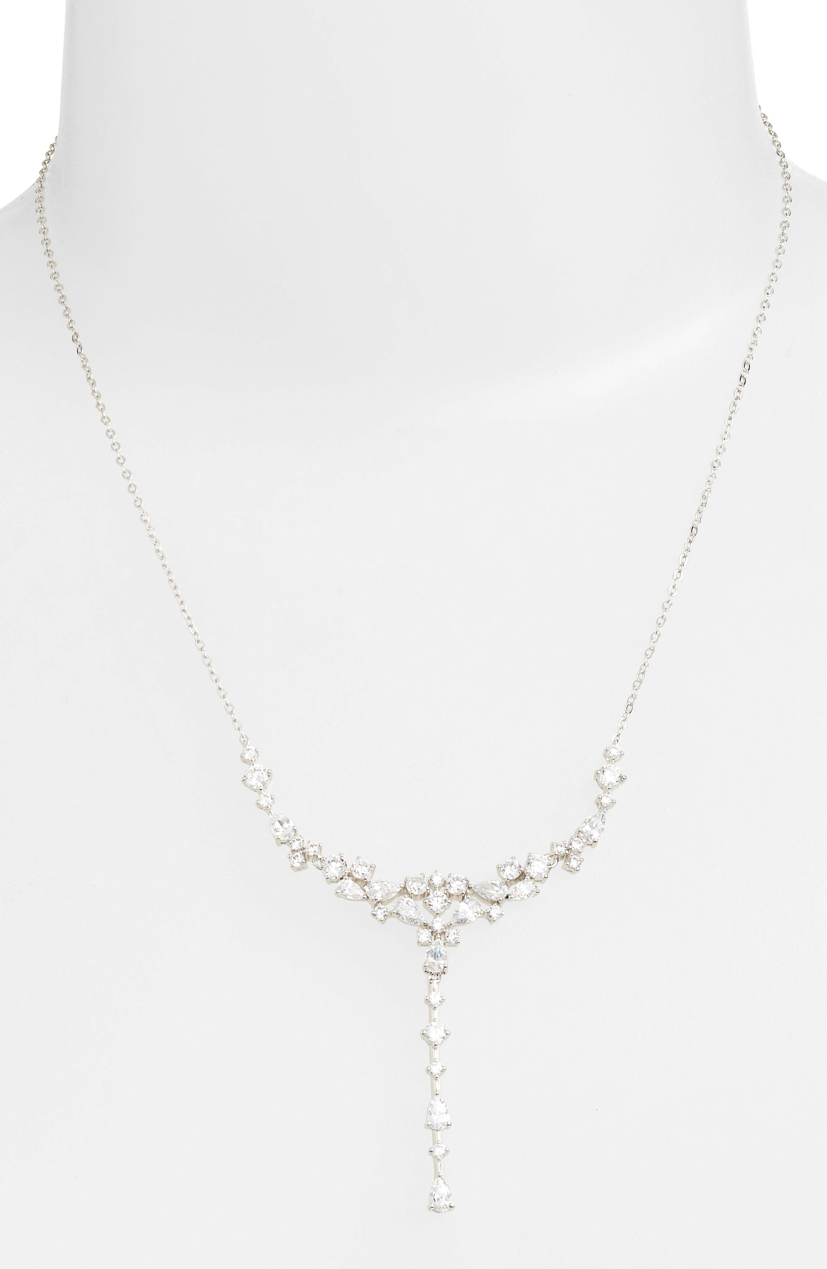 Cubic Zirconia Necklace,                             Alternate thumbnail 2, color,                             SILVER