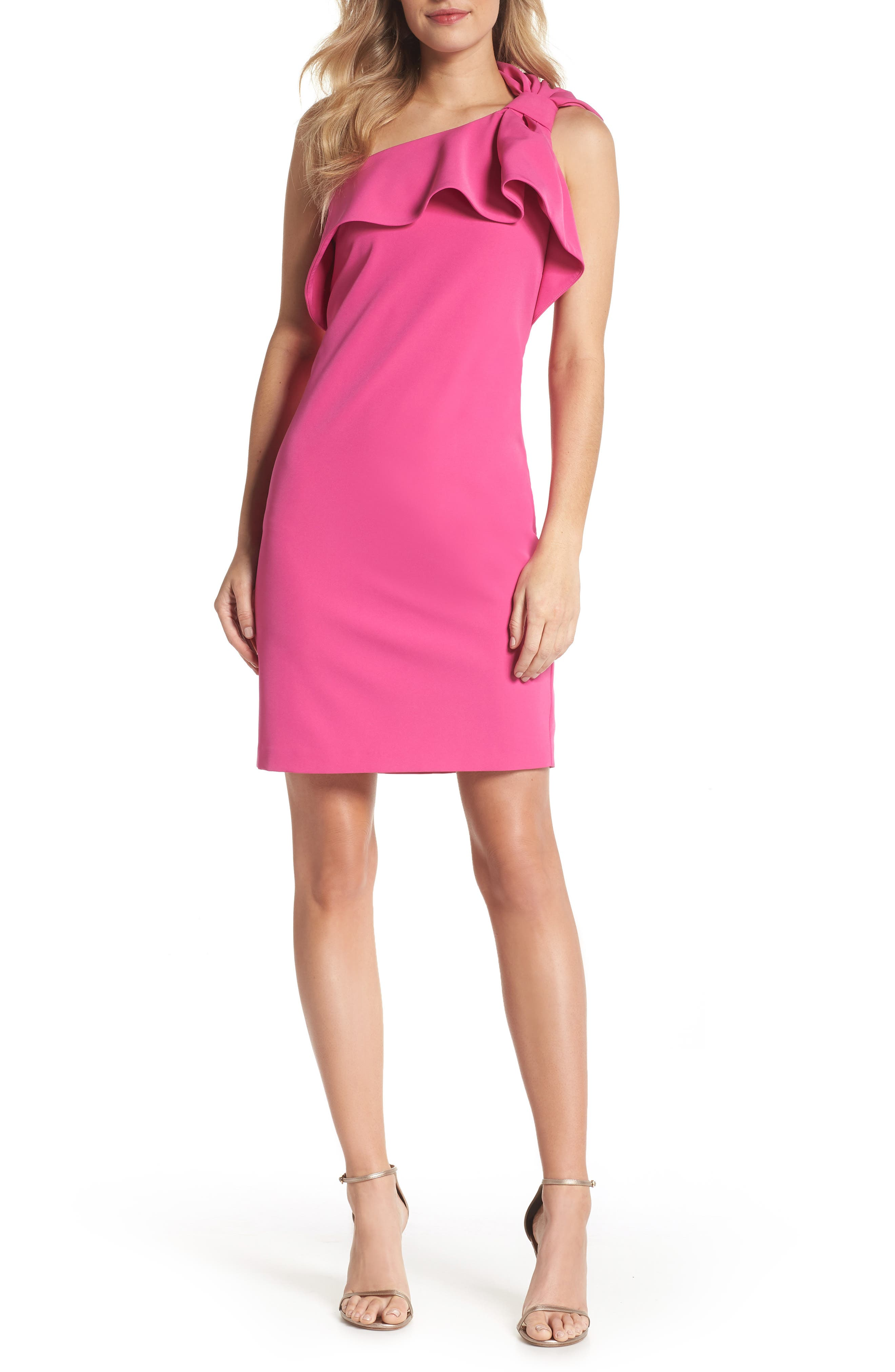 One Shoulder Bow Sheath Dress,                             Main thumbnail 1, color,                             FUCHSIA