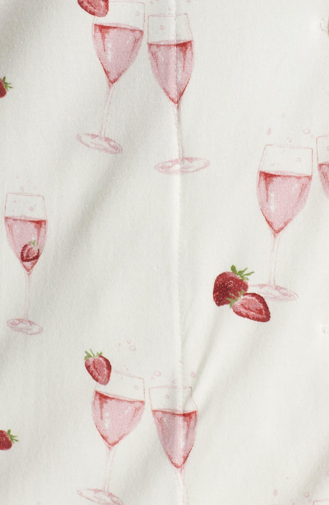 Strawberries & Champagne Print Pajamas,                             Alternate thumbnail 5, color,                             111