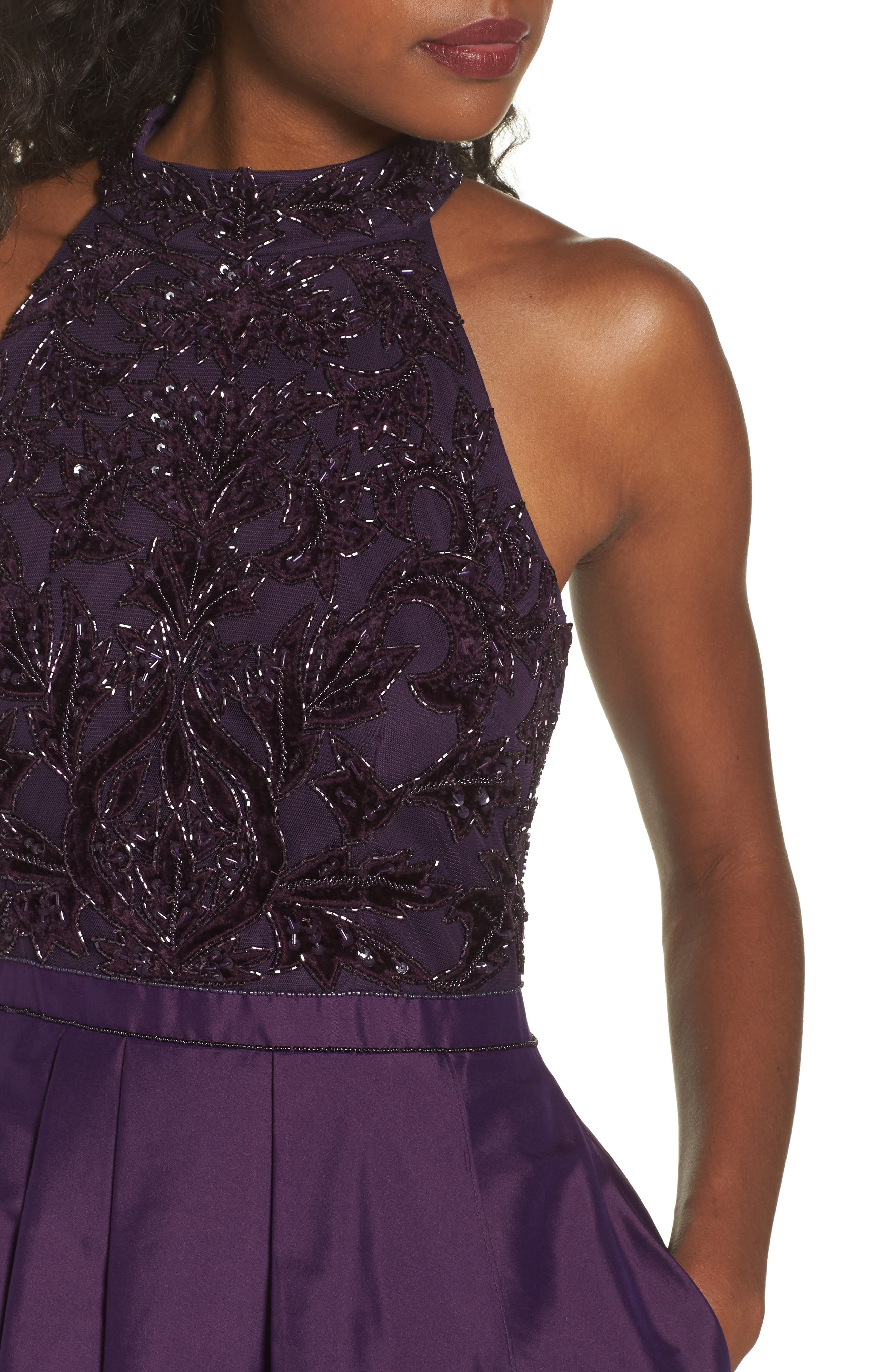 Embellished Taffeta High/Low Gown,                             Alternate thumbnail 4, color,                             501