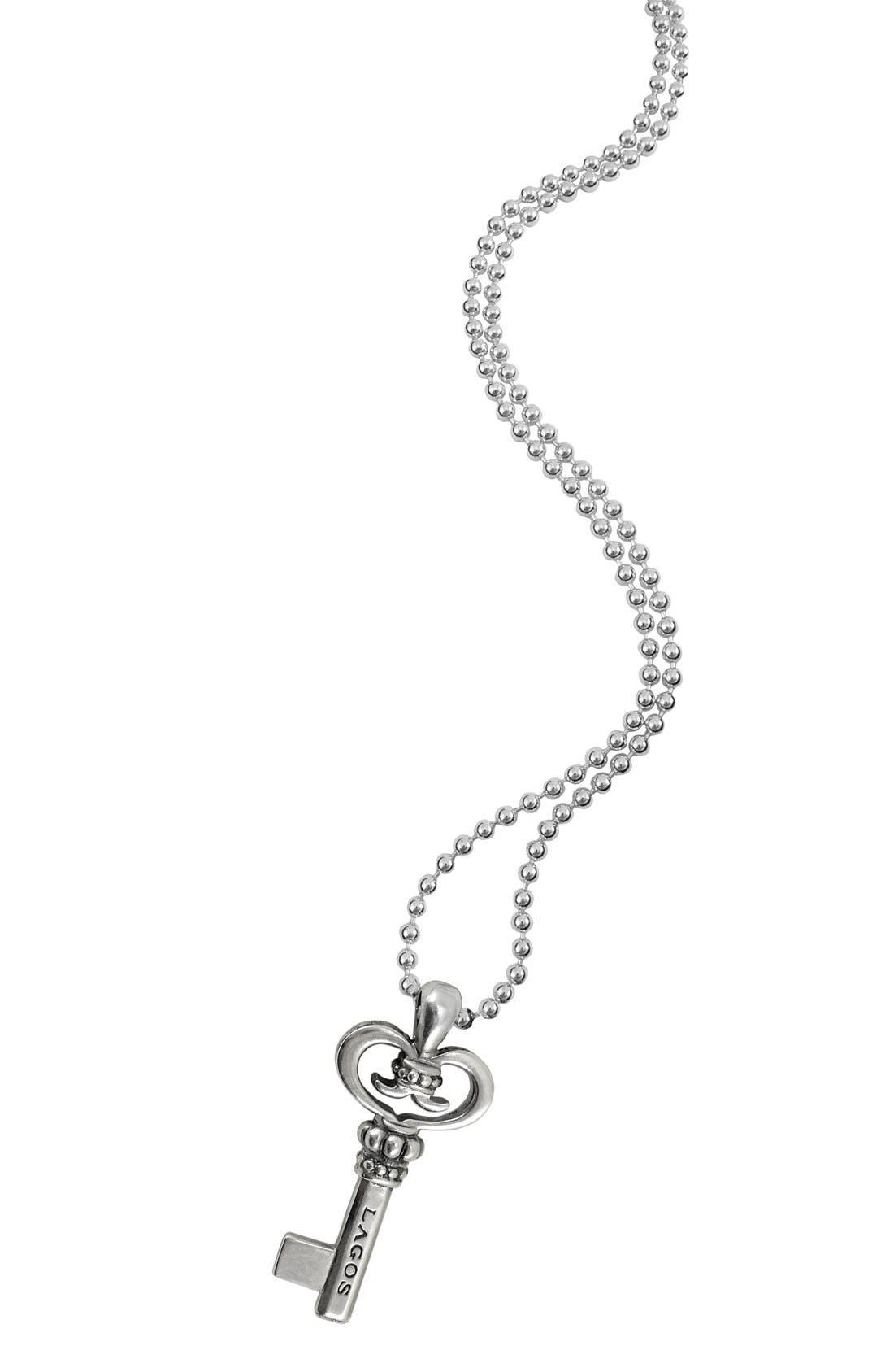 Sterling Silver Key Long Strand Pendant Necklace,                             Alternate thumbnail 5, color,                             KEY