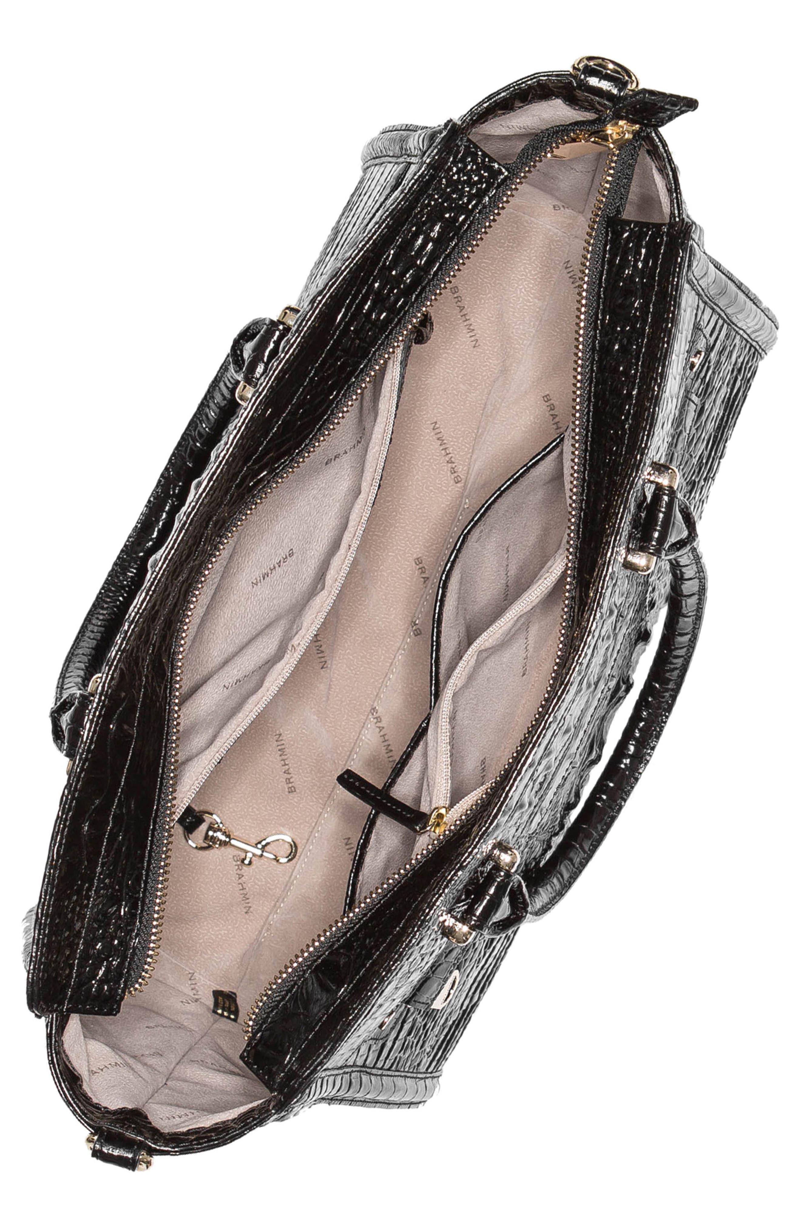 Harper Embossed Leather Satchel,                             Alternate thumbnail 3, color,                             BLACK