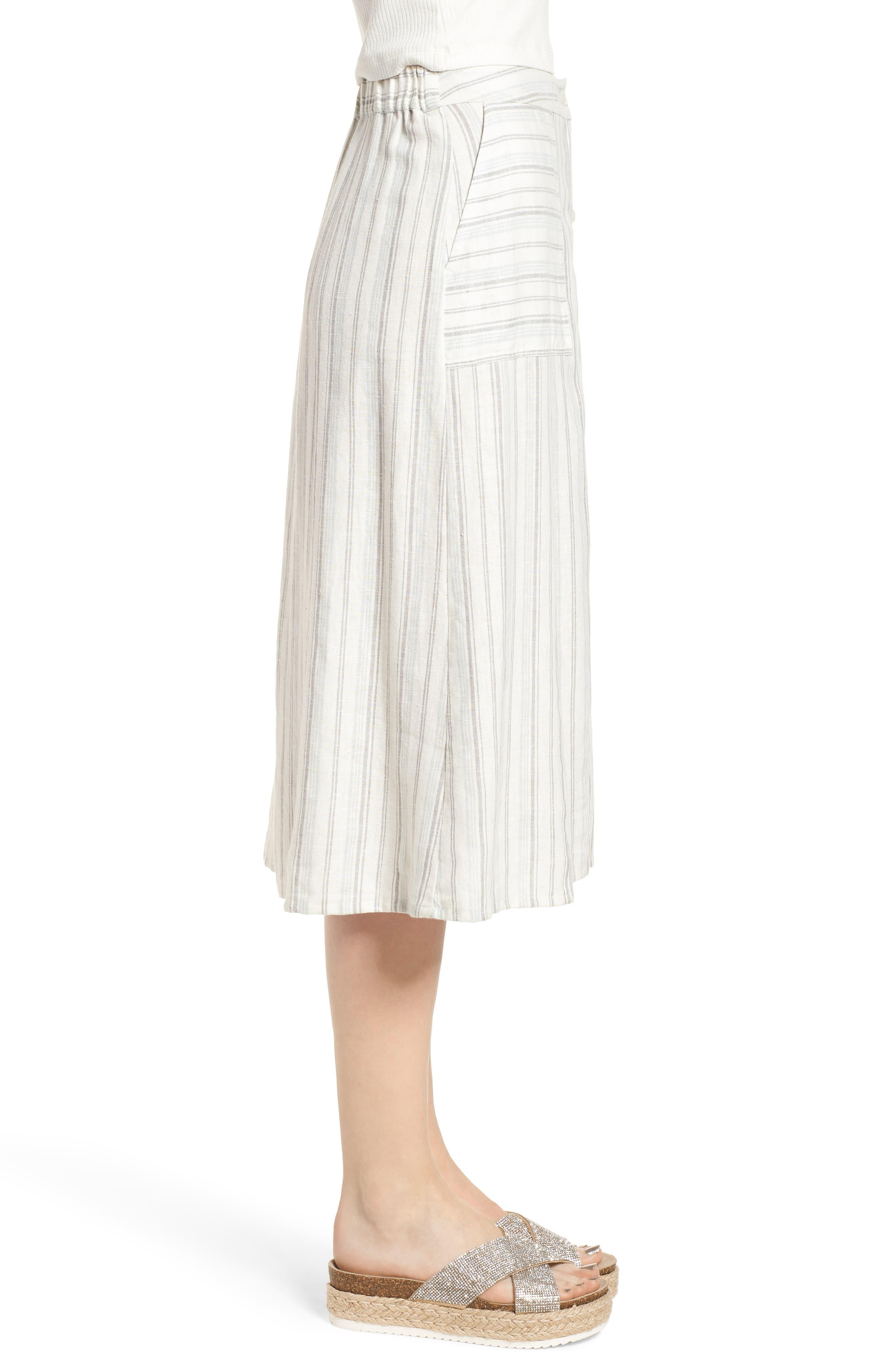 Stripe Linen Blend Midi Skirt,                             Alternate thumbnail 3, color,                             IVORY VERIGATED STRIPE