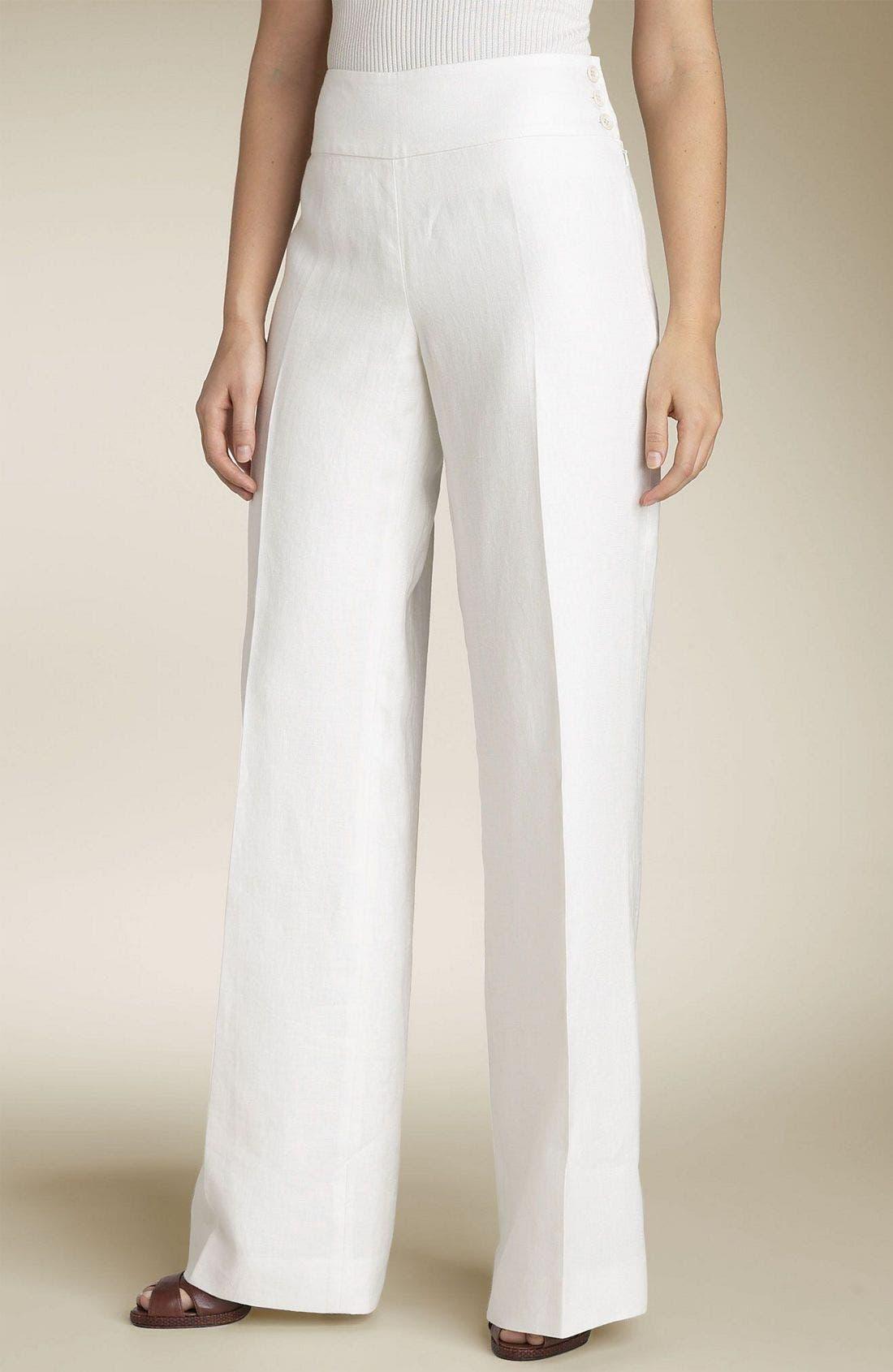 Lauren by Ralph Lauren Linen Pants,                             Main thumbnail 1, color,                             CCV