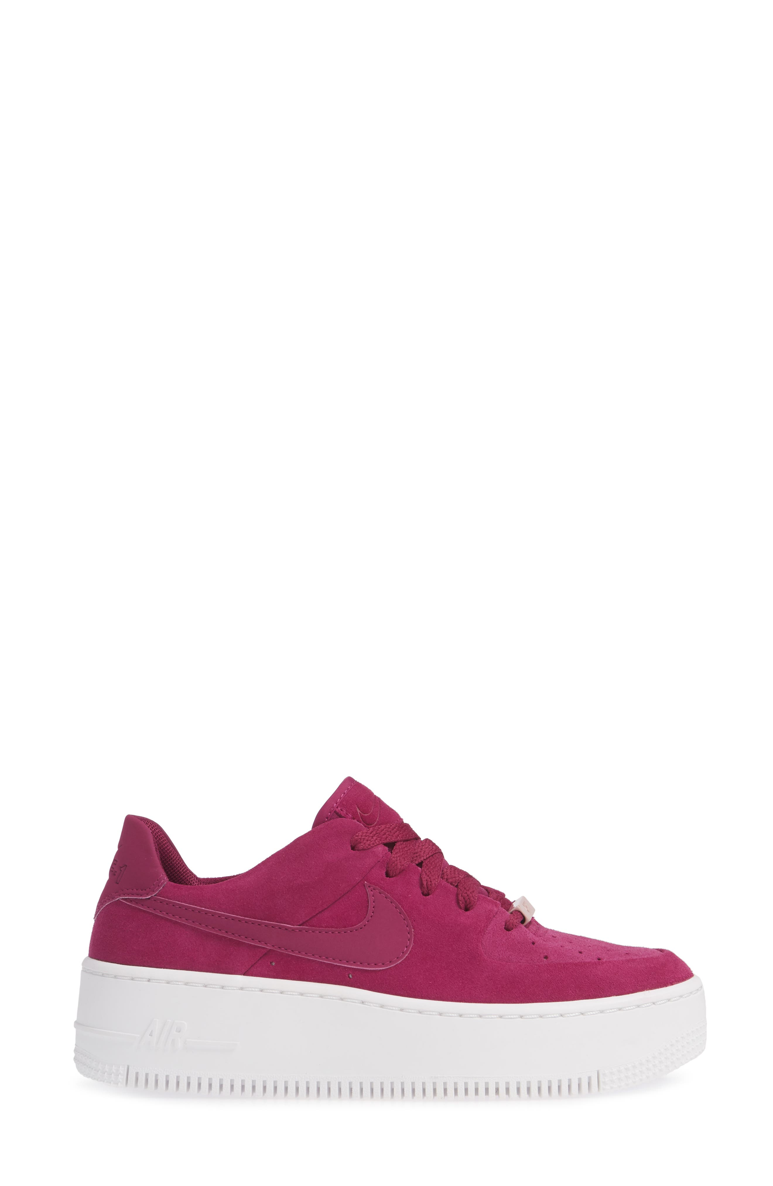 NIKE,                             Air Force 1 Sage Low Platform Sneaker,                             Alternate thumbnail 3, color,                             TRUE BERRY/ PLUM CHALK