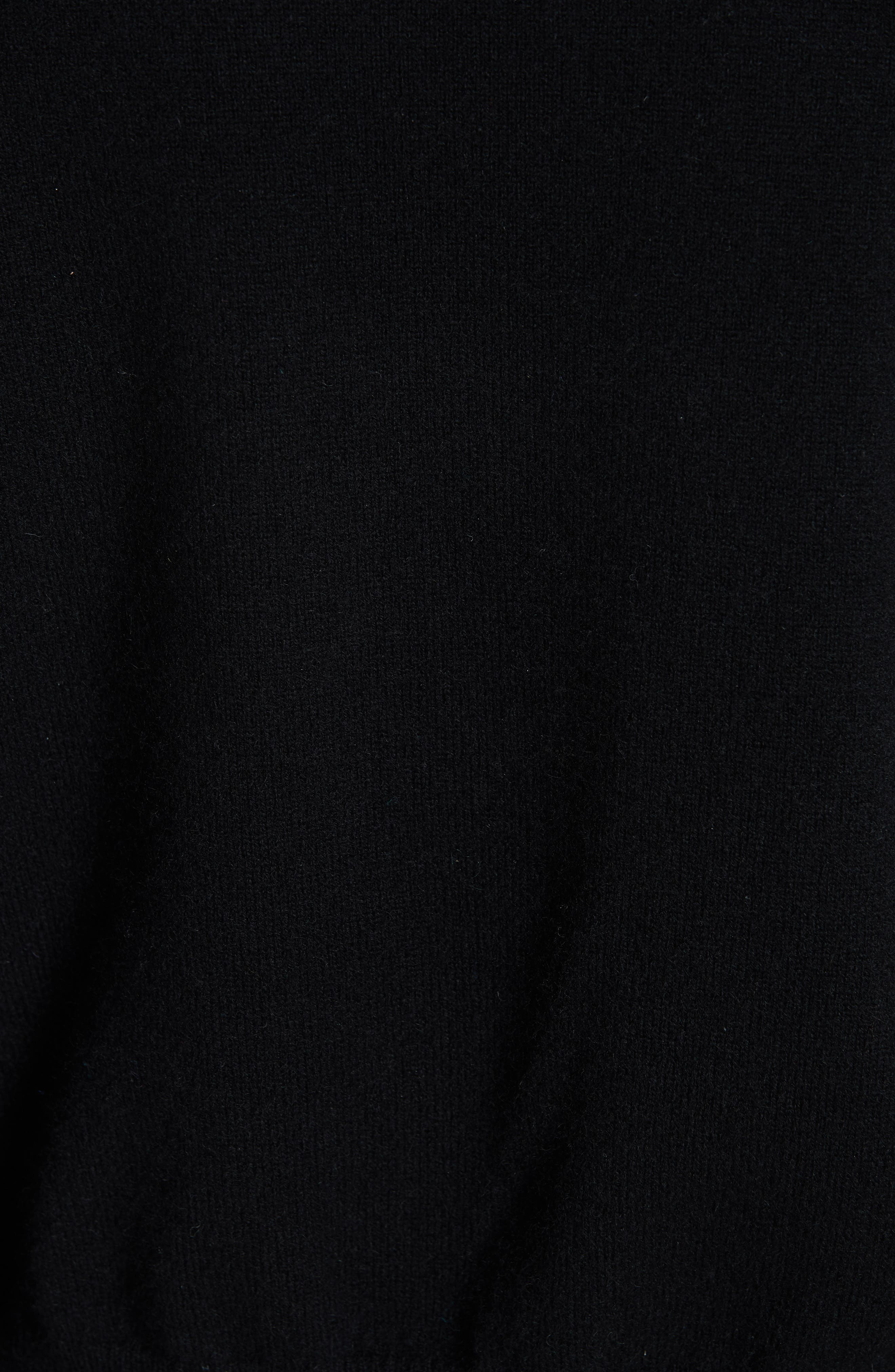 Snap Detail Cashmere Blend Sweater,                             Alternate thumbnail 5, color,                             BLACK