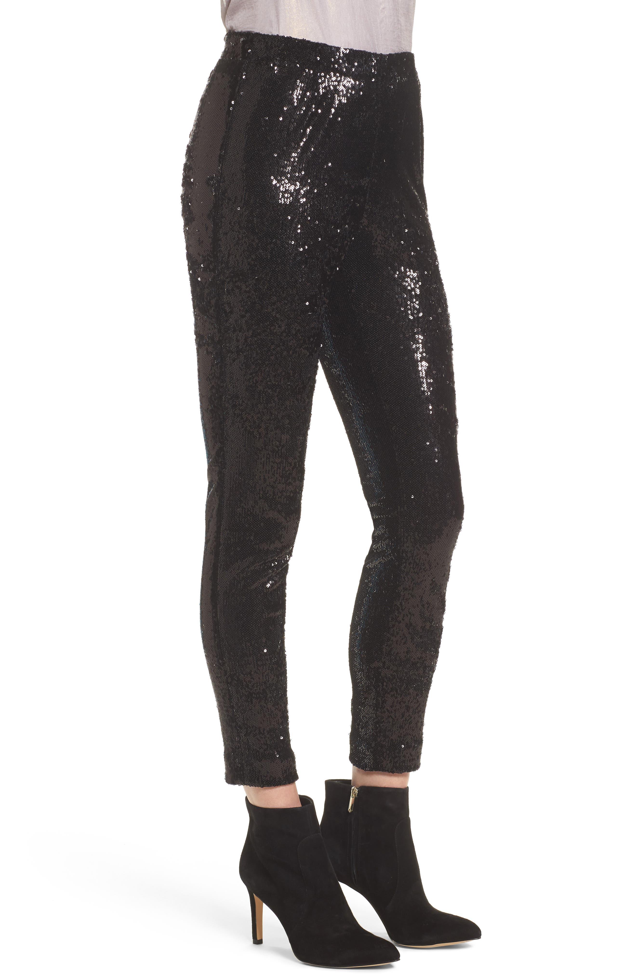 Glendora Sequin Crop Pants,                             Alternate thumbnail 3, color,