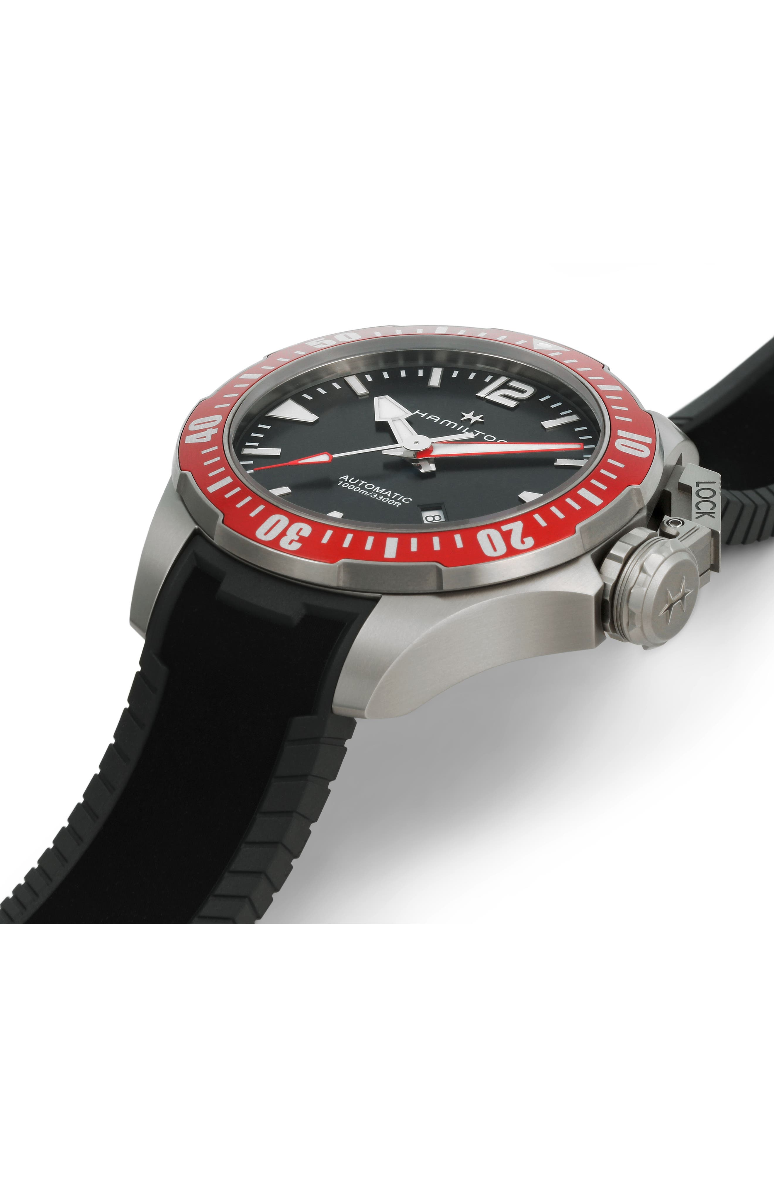 Khaki Navy Frogman Automatic Silicone Strap Watch, 46mm,                             Alternate thumbnail 2, color,                             BLACK/ RED/ SILVER